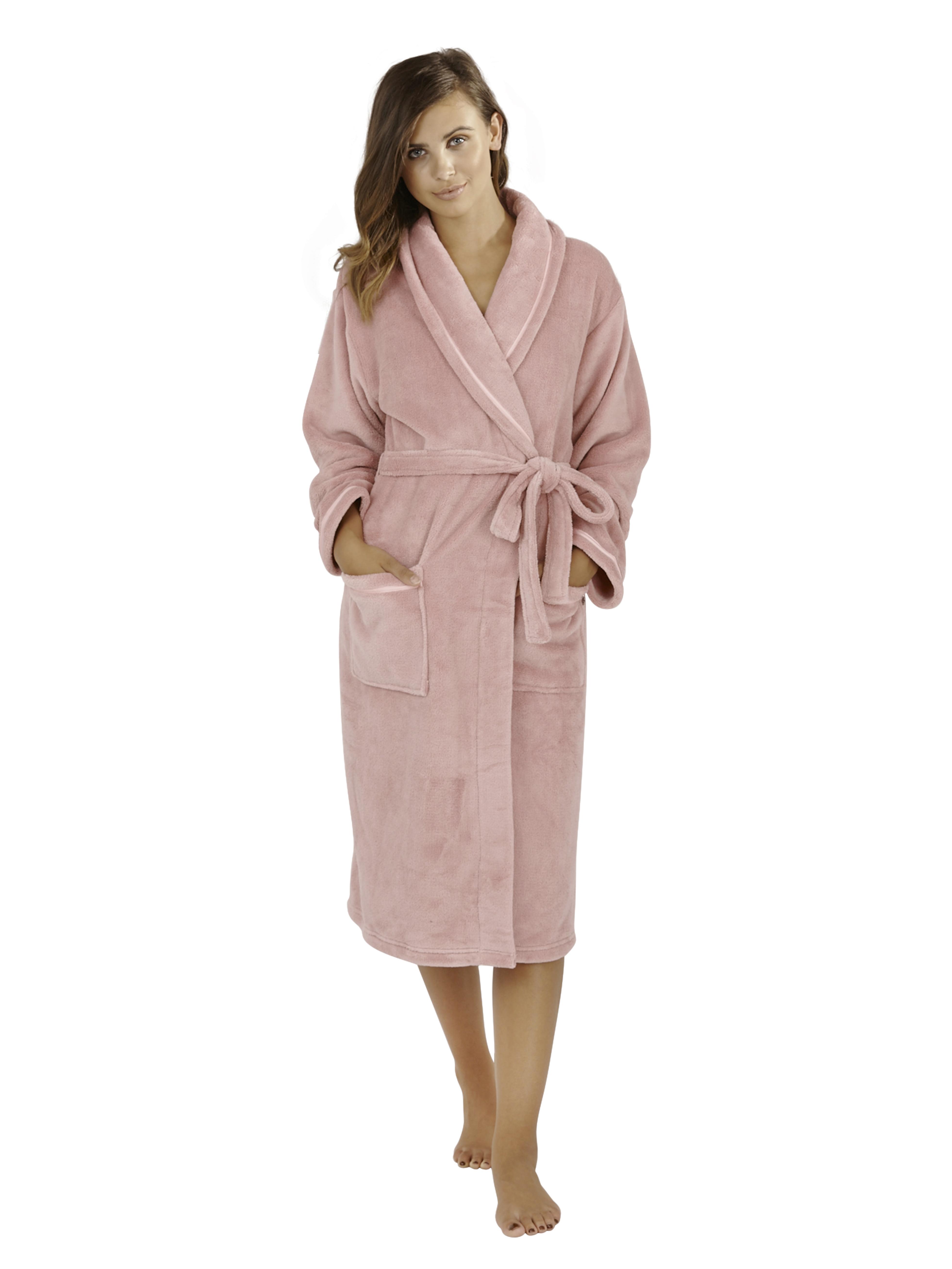 womens full length fleece bath robe dressing gown. Black Bedroom Furniture Sets. Home Design Ideas