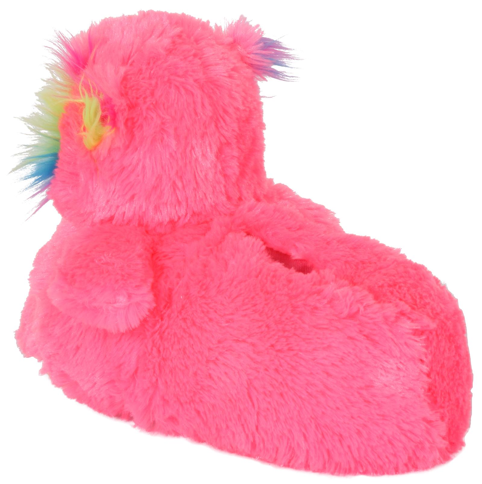 Boys Girls Kids Novelty 3D Character Plush Slippers Boots Unicorn Dino Size 9 -3