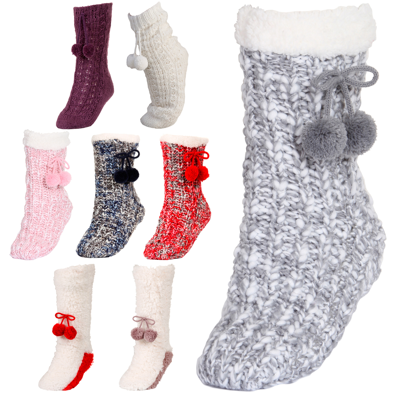 adb423a9745b8 Details about Luxury Womens Slipper Socks Knitted Sherpa Fleece Lined  Booties Xmas Gift Size