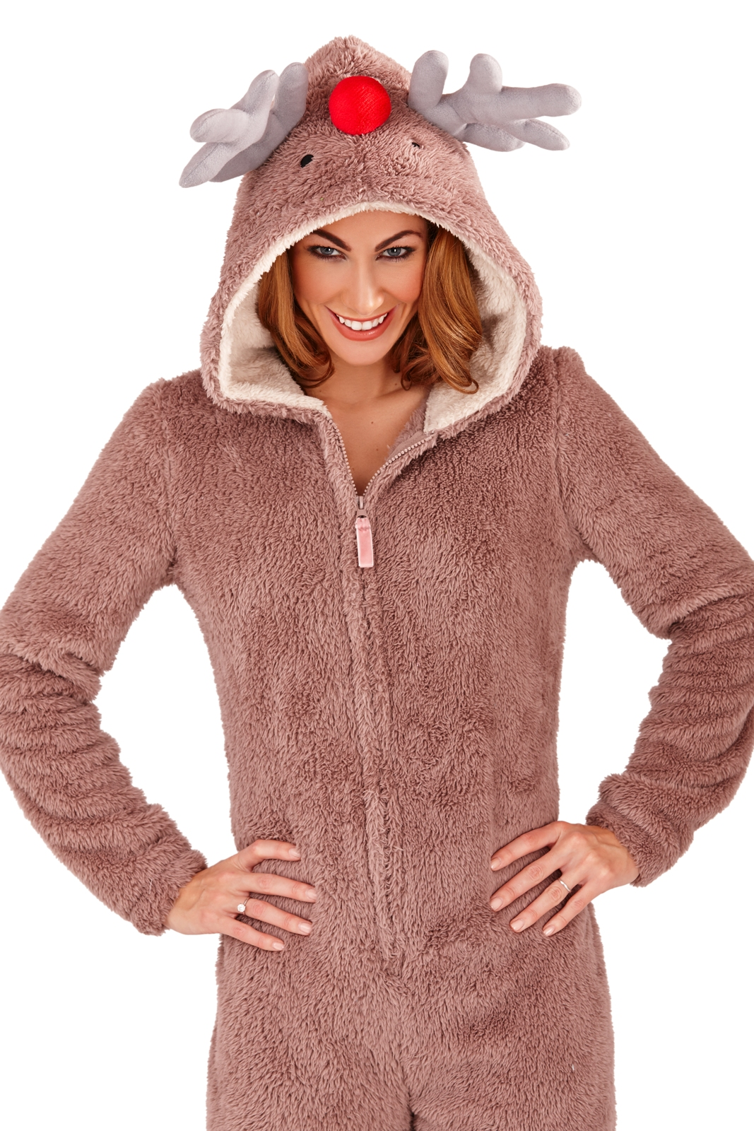 e215fa52c687e Womens 3d Reindeer Onesie Hooded Dress up All in One Pyjamas ...