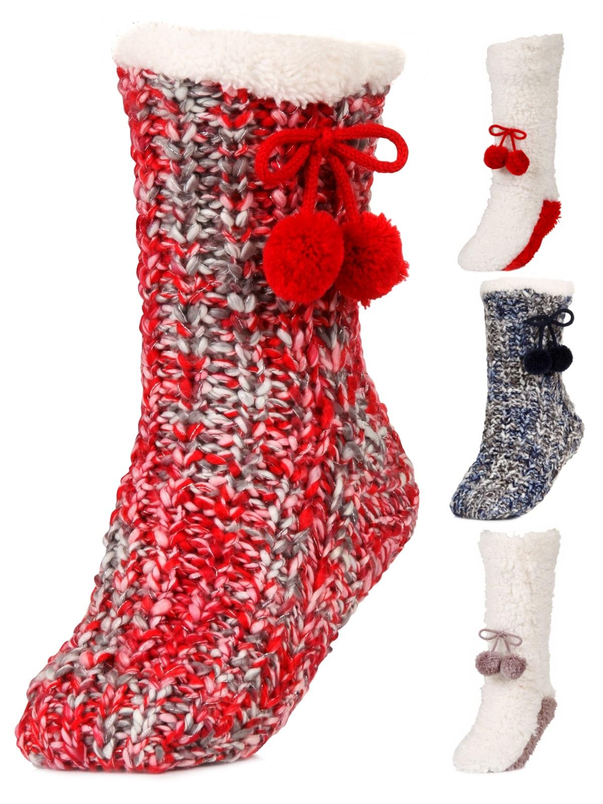 4c8ec0013 Luxury Womens Slipper Socks Knitted Sherpa Fleece Lined Booties Xmas ...