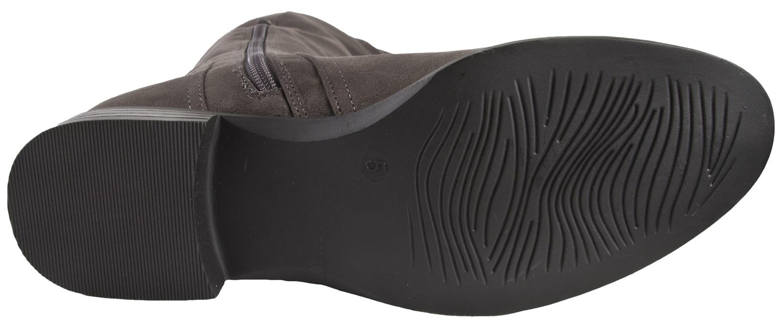 Cuero Gamuza sintética para mujer Botas De Montar Alto del muslo Damas Tacón Bajo Zapatos Talla