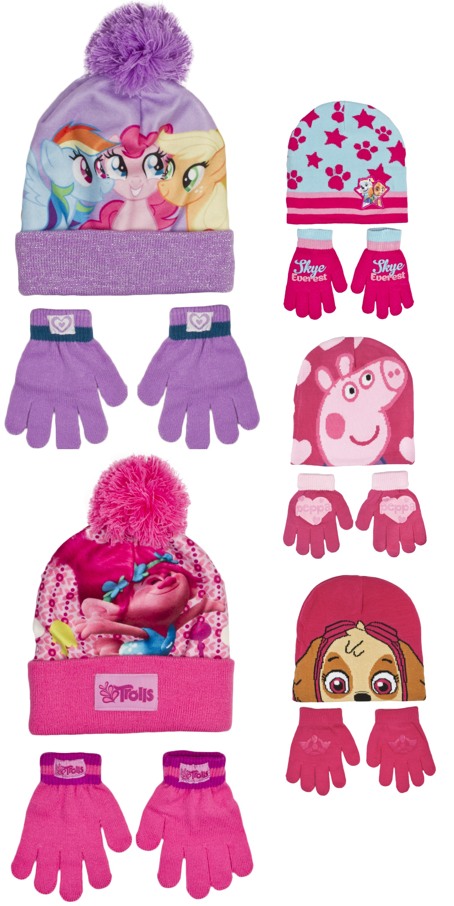 fa634af9dd58c Girls Character Stretch Hat And Gloves 2 Piece Set Kids Warm Winter Gift  Size