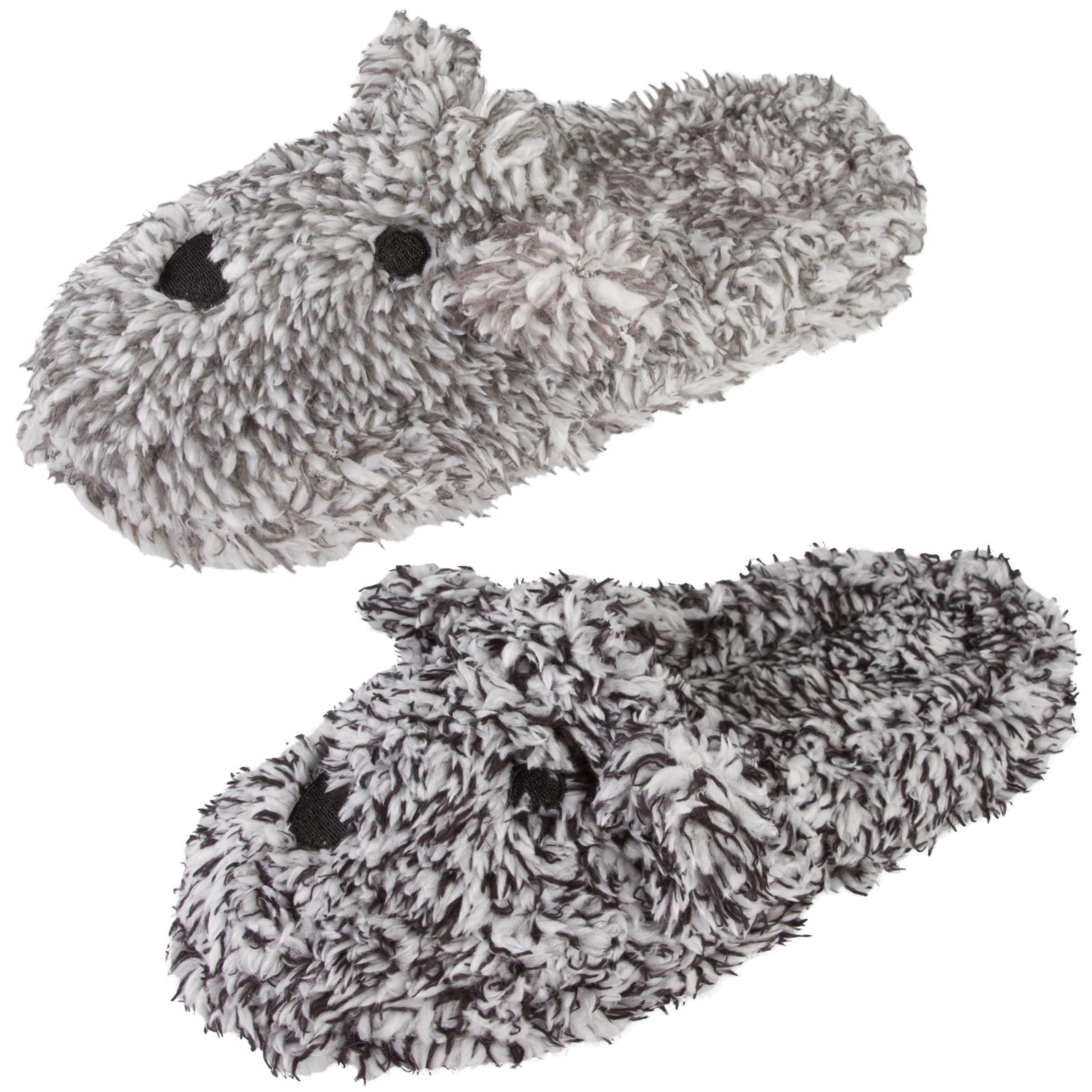 74655fb3549e Womens 3D Novelty Mules Soft Faux Fur Marl Teddy Bear Slippers Xmas ...