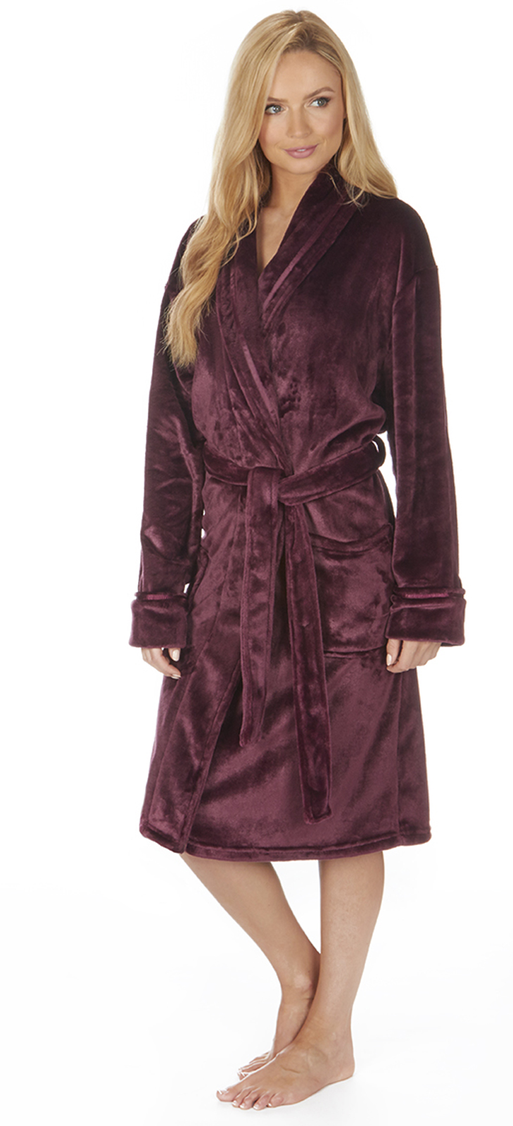 Luxury Womens Plus Size Flannel Fleece Dressing Gown Full Length ... e073dc7b29