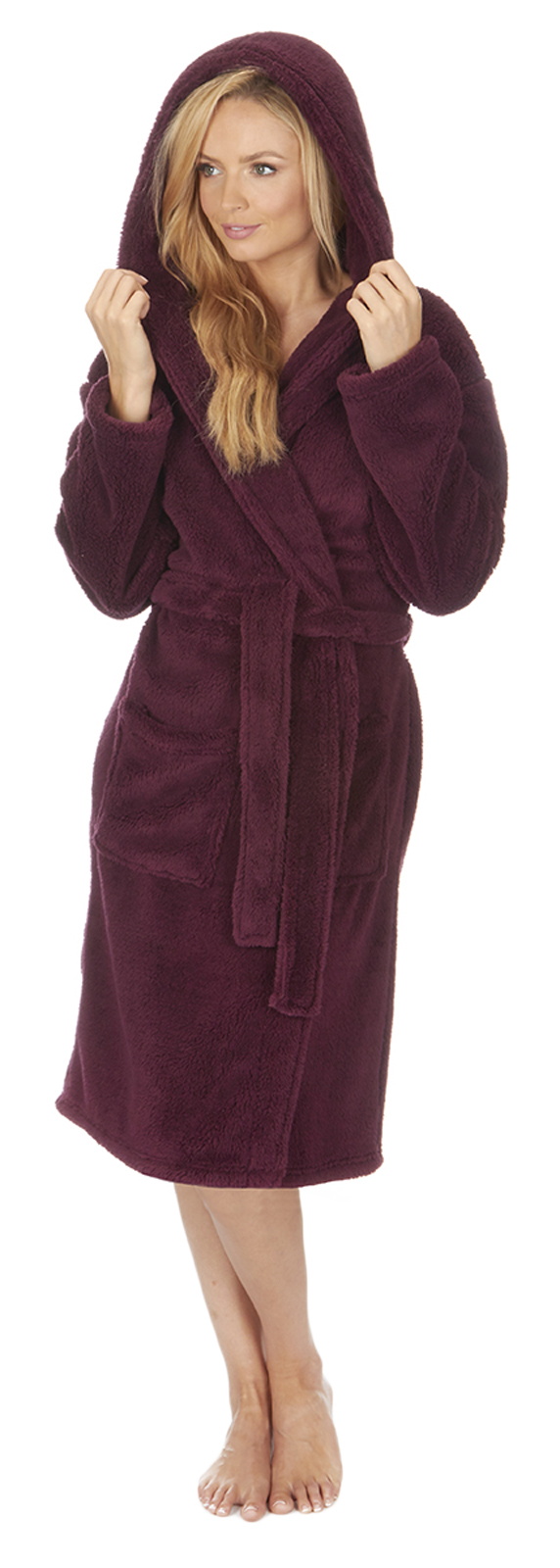 Luxury Womens Plus Size Flannel Fleece Dressing Gown Full Length
