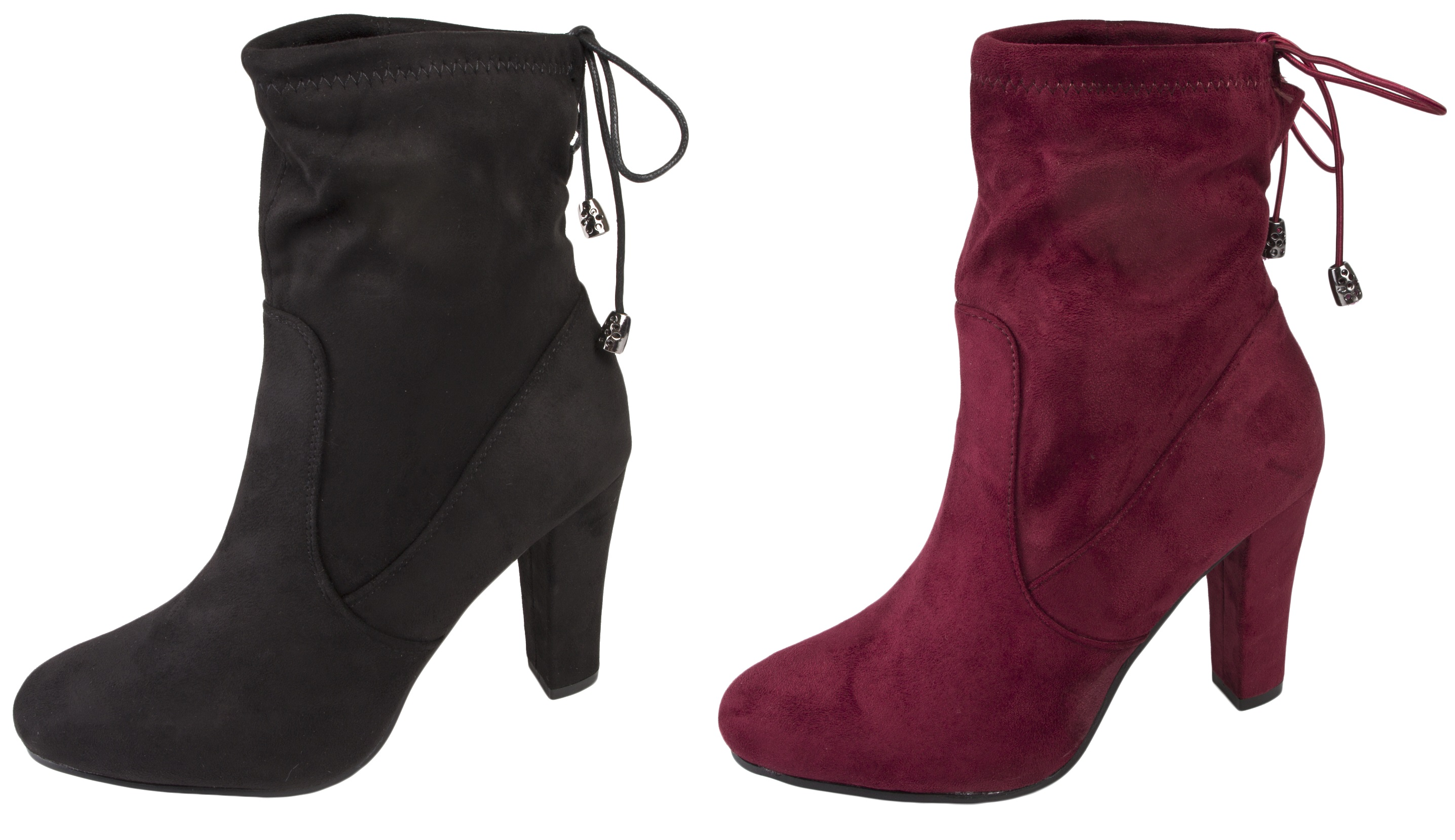 61727274a6ea Womens High Heel Ankle Boots Adjustable Tie Top Faux Suede Leather Ladies  Size