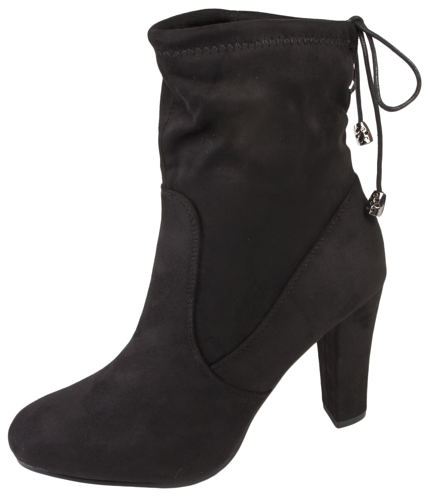 7c9f393a77 Womens High Heel Ankle Boots Adjustable Tie Top Faux Suede Leather ...