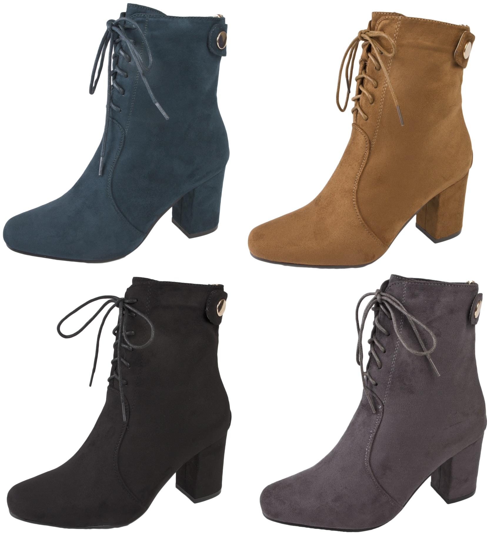 d243bbe1c6b Details about Womens Lace Up Ankle Boots Chunky Block Heels Faux Suede  Leather Winter Size