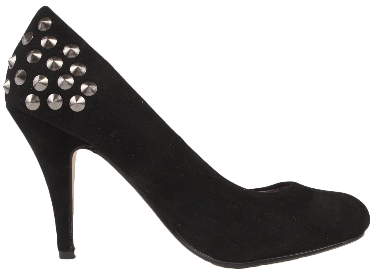 Womens Faux Suede Stiletto High Heels Spike Studded Court ...