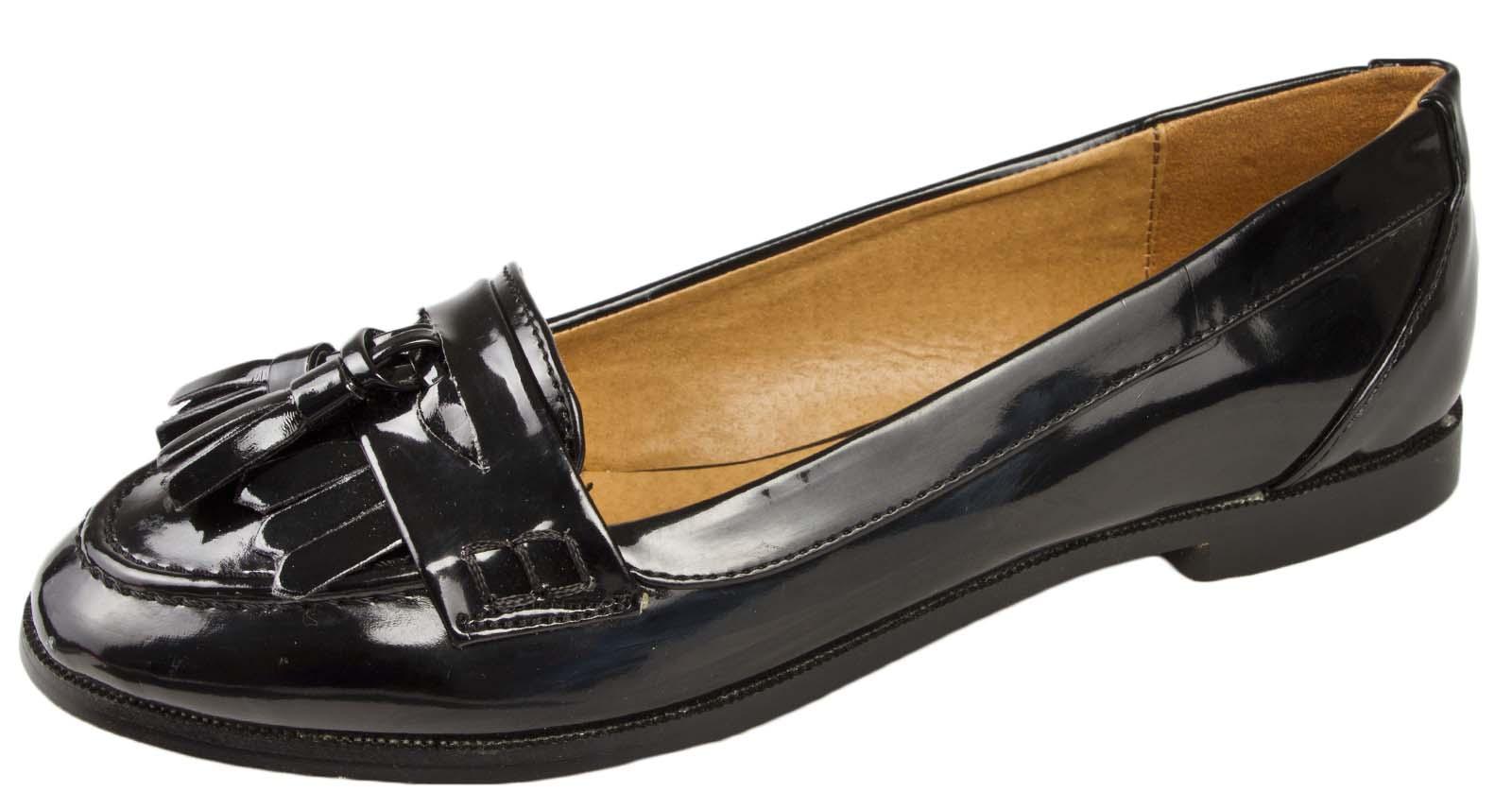 664913458aa Girls Womens Black Tassel Loafers Faux Leather School Shoes Work ...