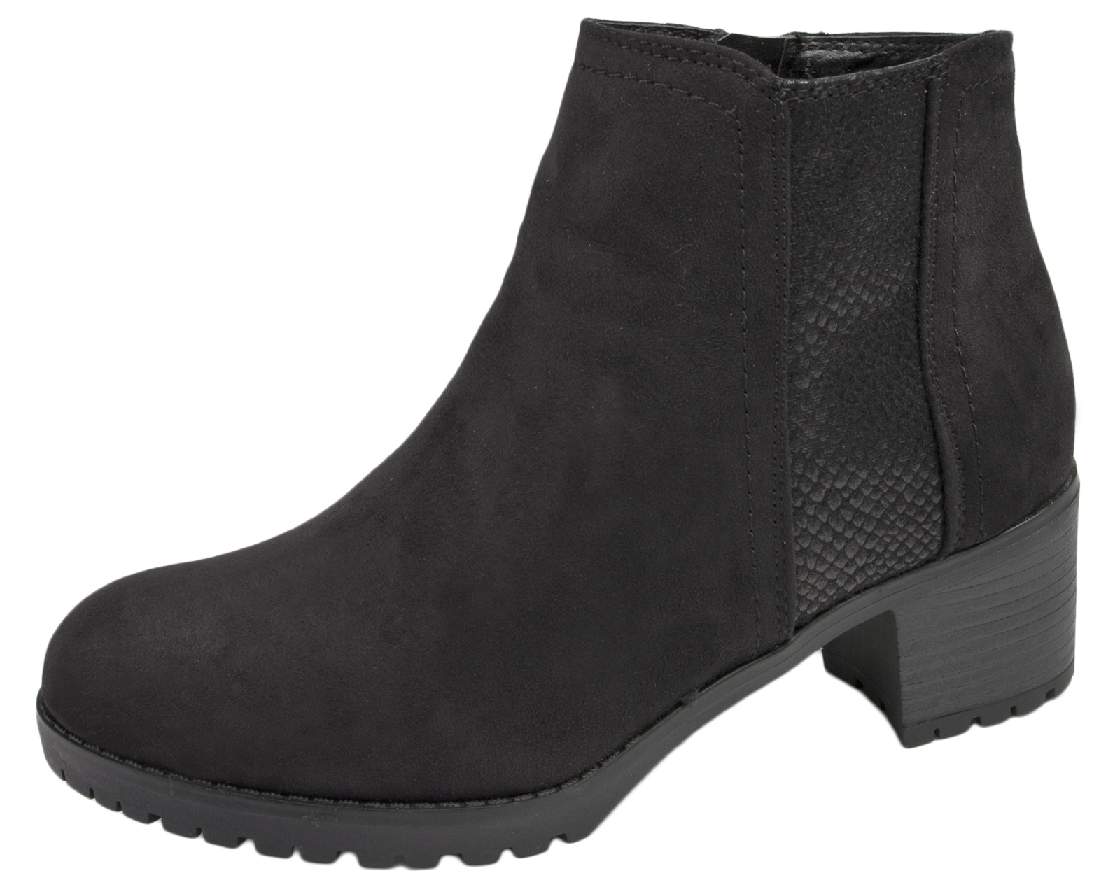 Womens Chunky Block Heel Chelsea Ankle Boots Faux Suede Leather ...