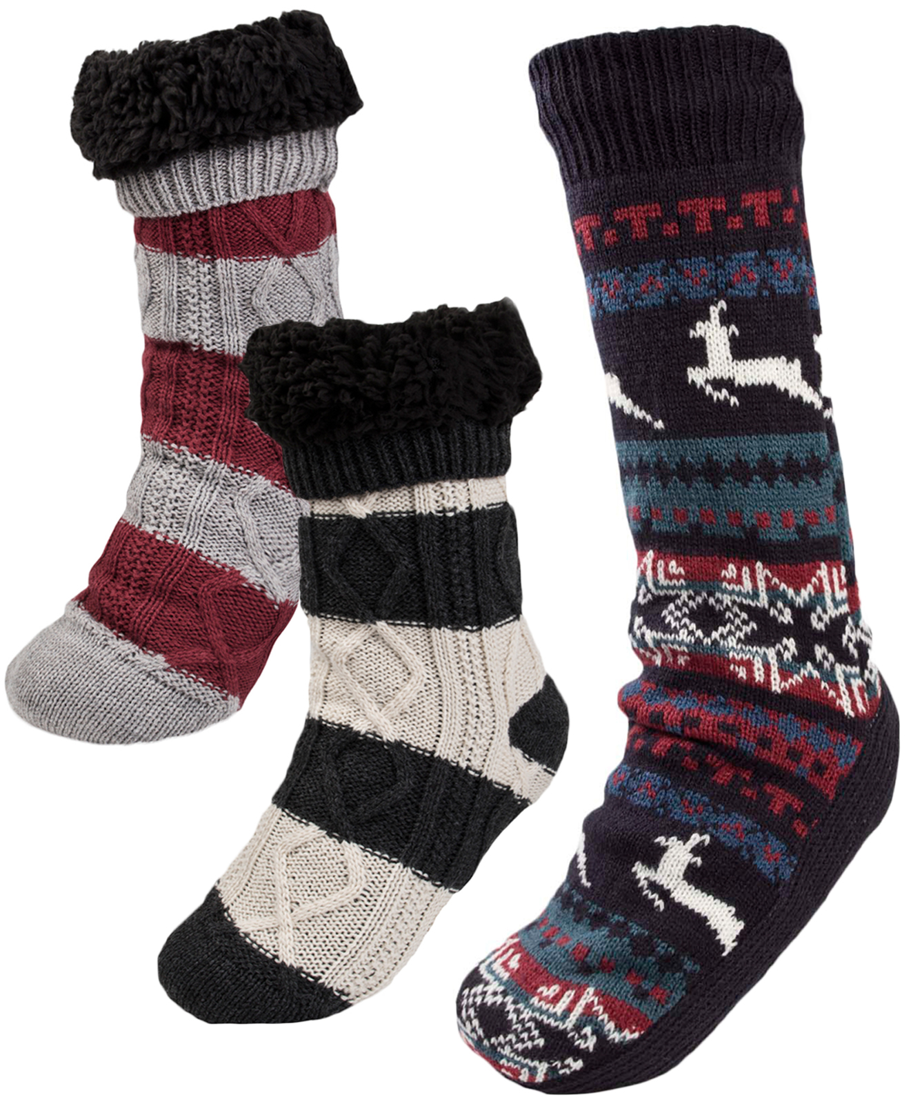 b588b865122a5 Mens Cosy Slipper Socks Warm Lined Knitted Bed Socks Booties Xmas Gift One  Size