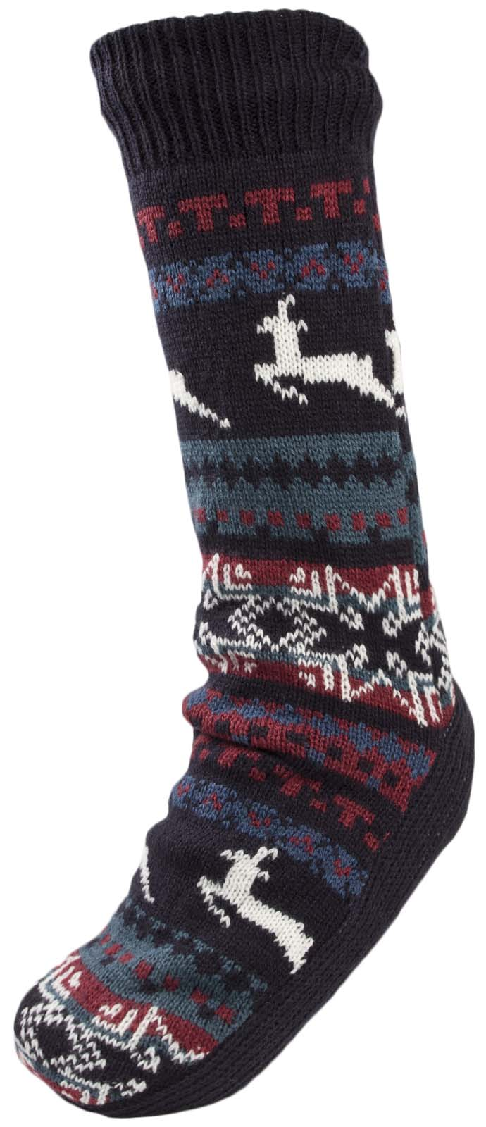 Mens Cosy Slipper Socks Warm Lined Knitted Bed Socks Booties Xmas ...