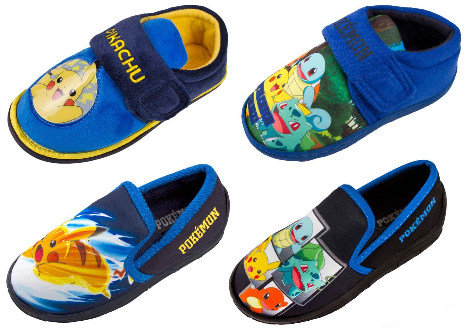reputable site 085dc 71f54 Boys Pokemon GO Slippers Pikachu Bulbasaur Charmander Squirtle Mules Kids  Size