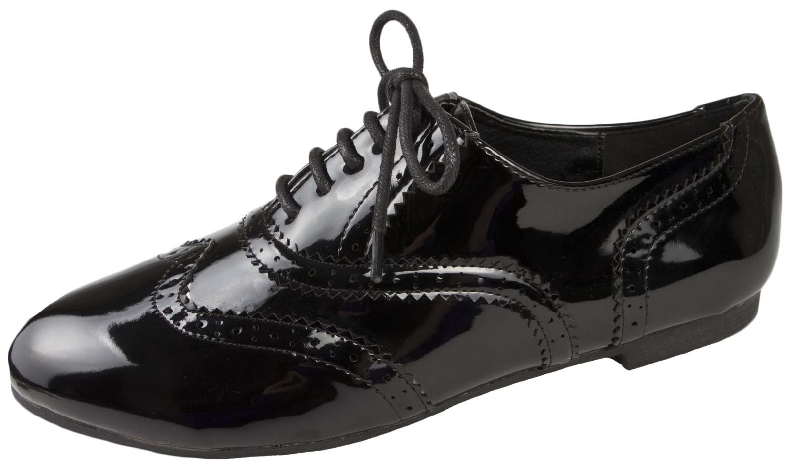 Ladies Black Patent Flat Lace Up Shoes