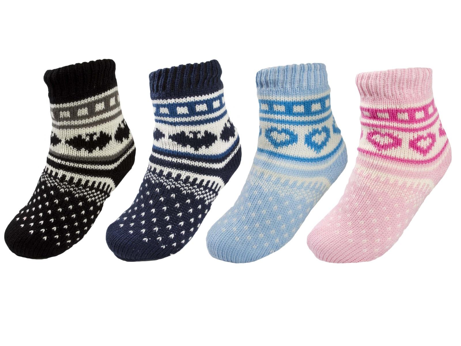 Boys Girls Warm Fleece Lined Fairisle Slipper Socks Booties Lounge