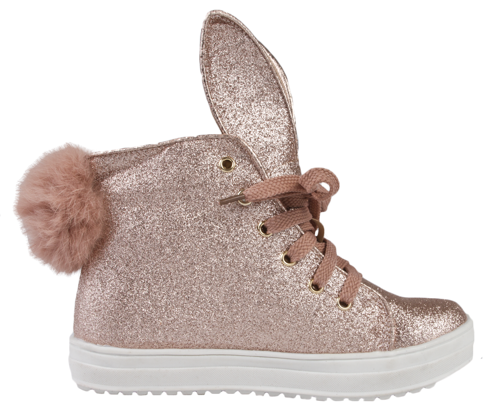 Girls Glitter Hi Tops 3D Bunny Ears Pom Pom Tail Lace Up Pumps Trainers Size
