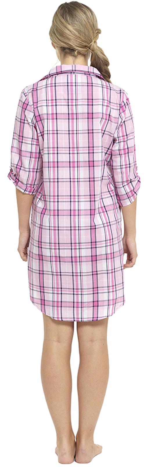 2b36fea5e0cb Womens Nightdress Check Nightshirt Nightie Nighty Nursing Pyjamas ...