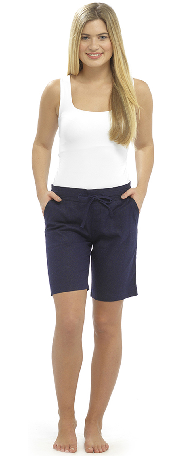 Womens linen shorts with elasticated waist holiday beach for Women s fishing shorts