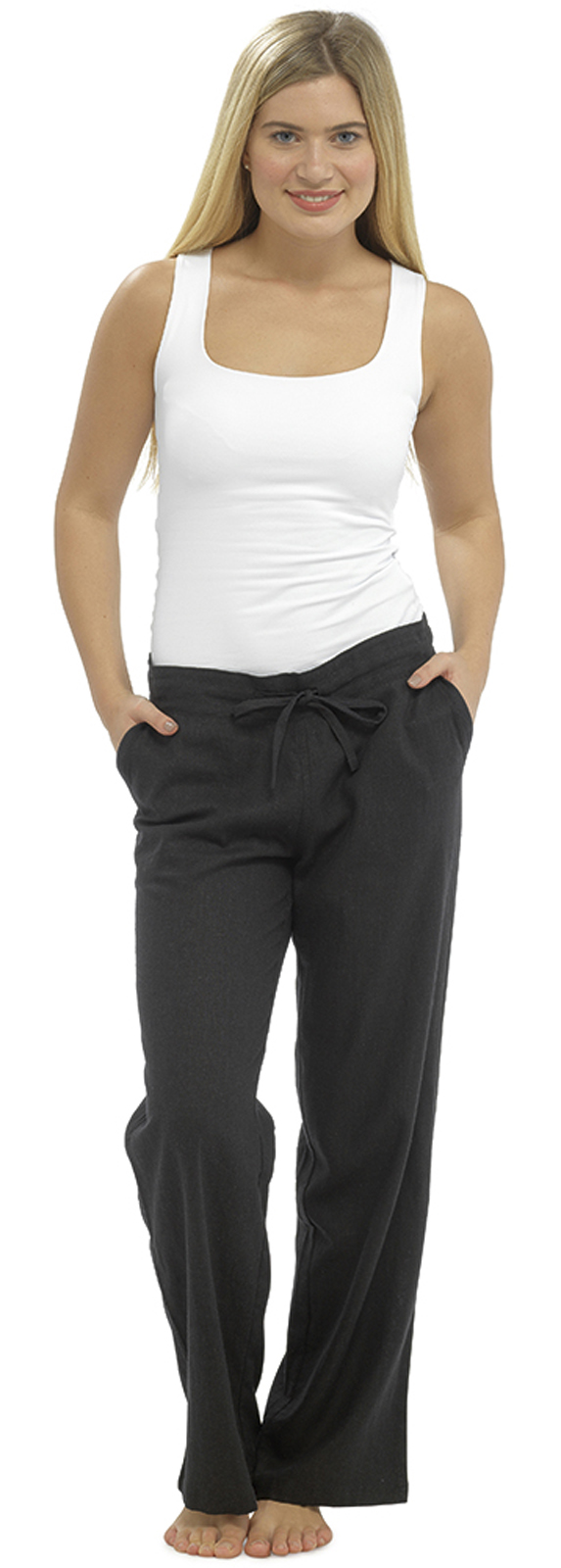 34c4d23886a Womens Linen Trousers Cropped Capri or Full Length Pants Casual Fit ...