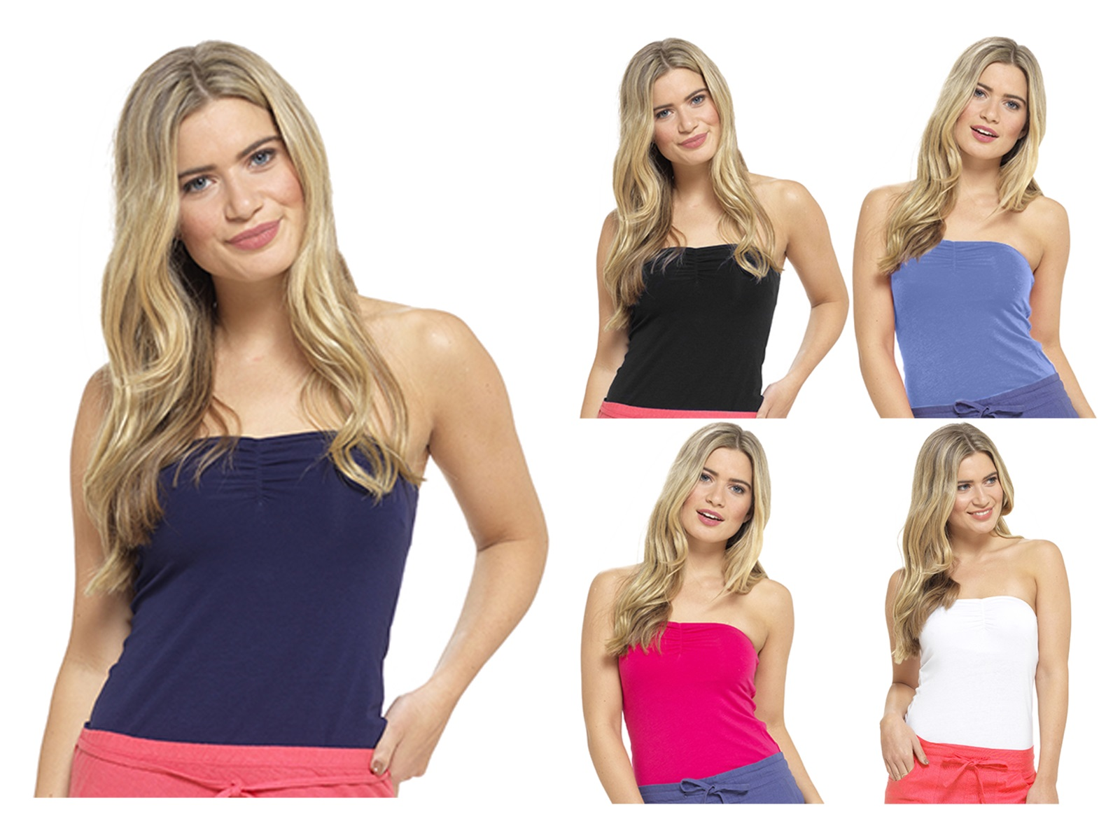 Womens Bandeau Vest Top Stretch Boob Tube Strapless Summer ...
