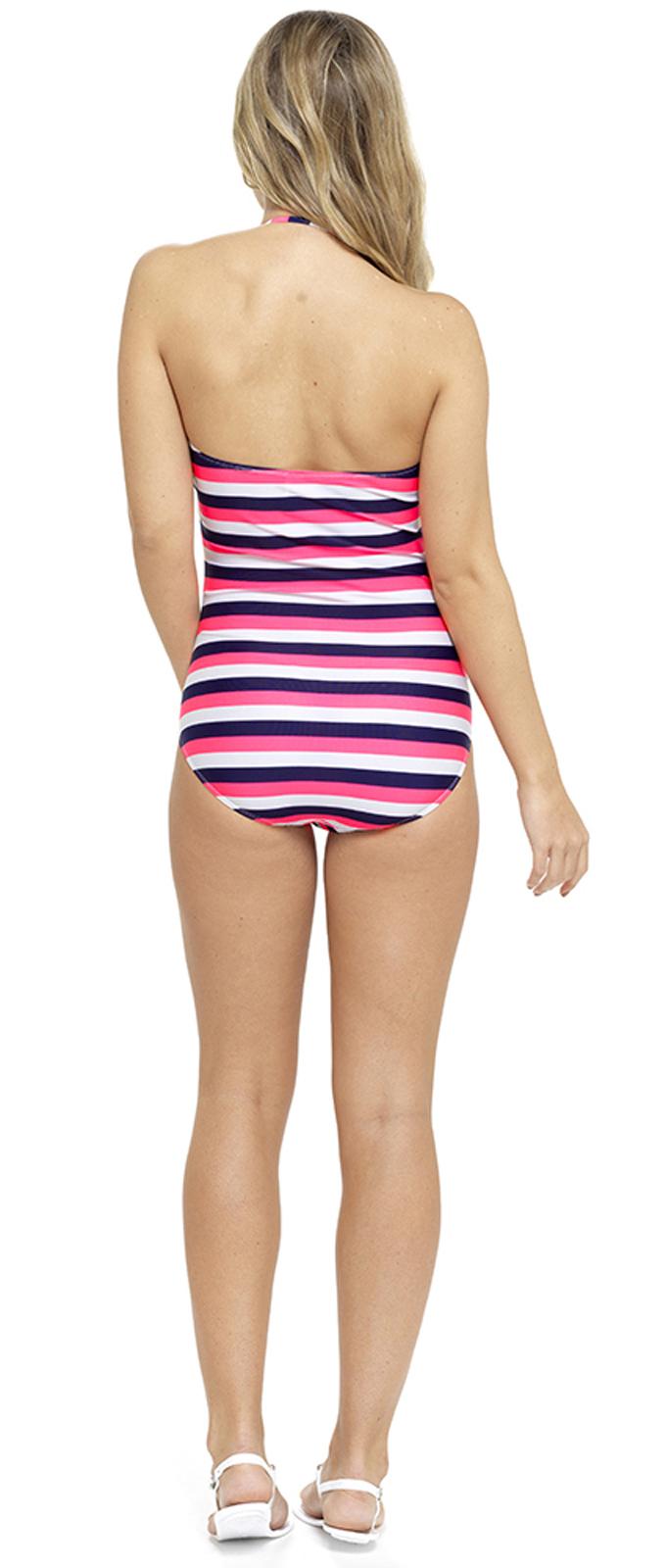 da644f1808b Womens Striped Swimming Costume Multi Way Bandeau / Halterneck ...