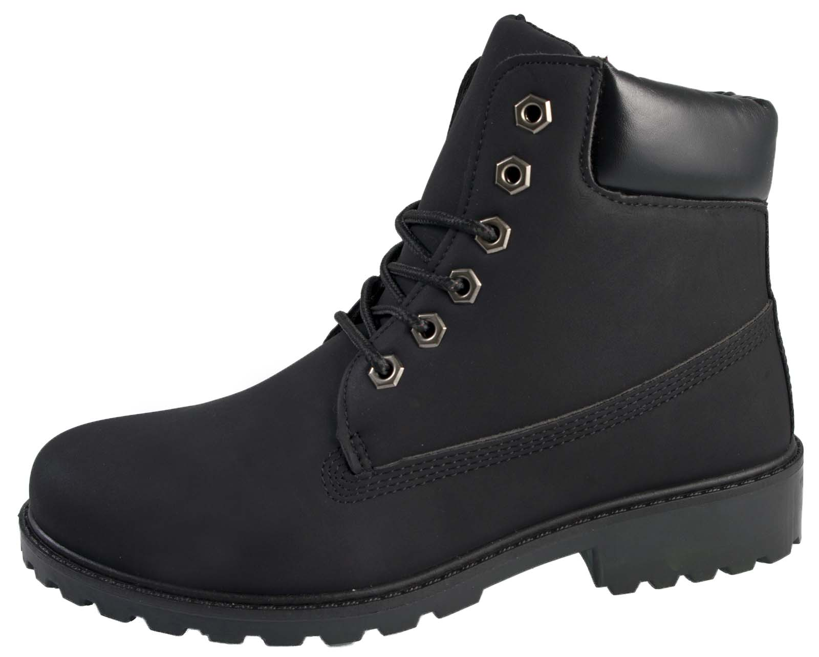 8eb56a0c2f751 Details about Boys Girls Faux Leather Worker Ankle Boots Winter Military  Combat Shoes Size