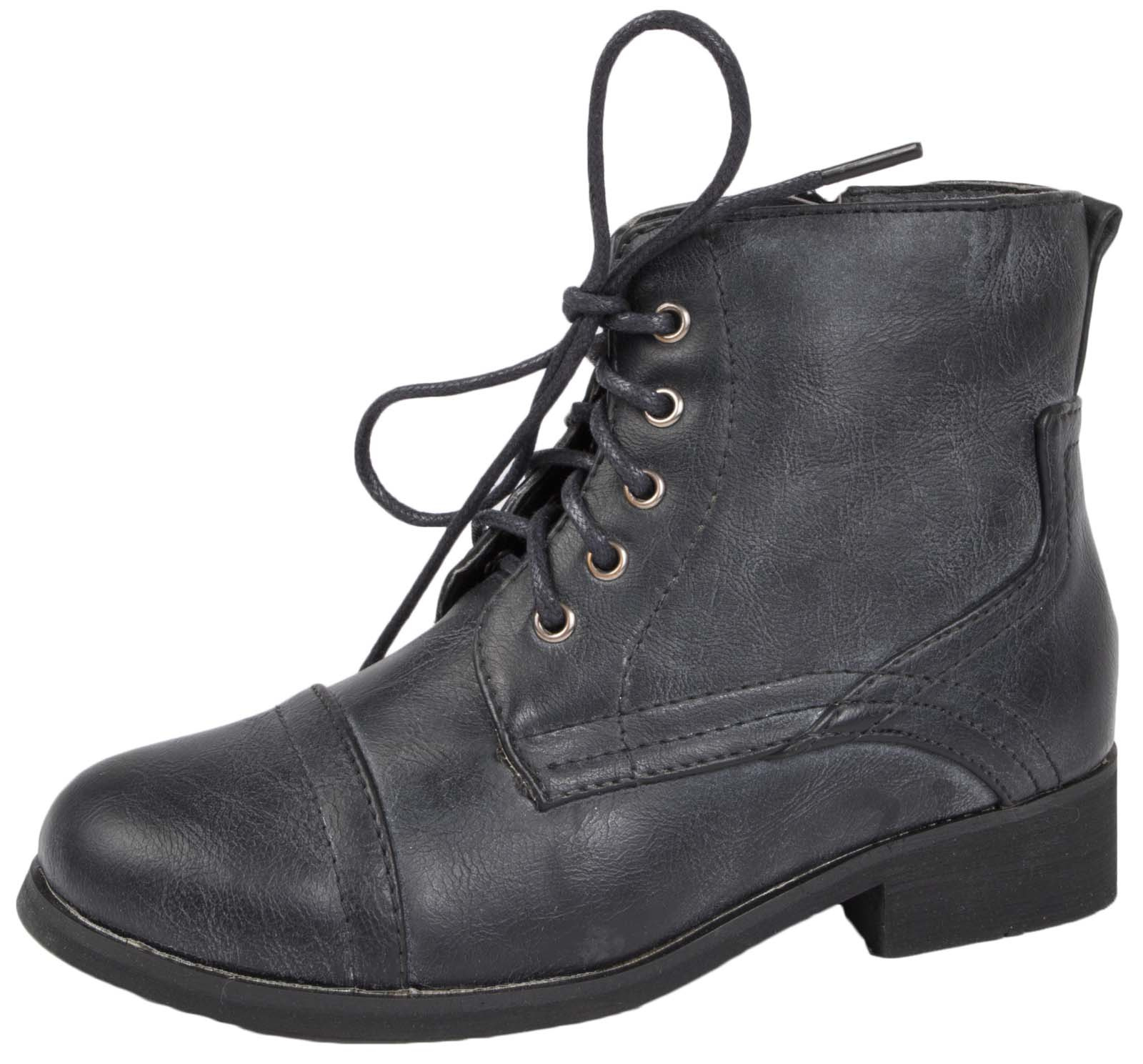 Details about Girls Lace Up Ankle Boots Faux Leather Pixie School Shoes Low  Heel Party Boots