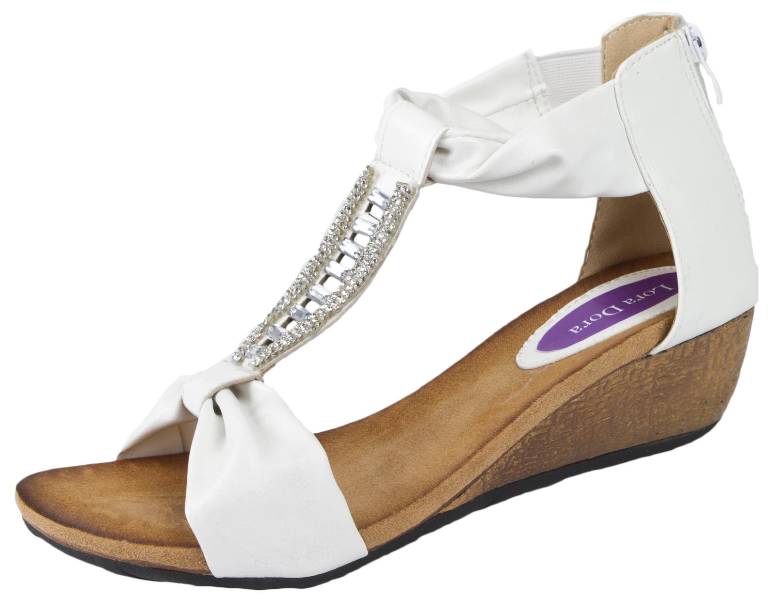 94ae940fd Womens T Bar Summer Sandals Low Wedges HEELS Ladies Wedge .