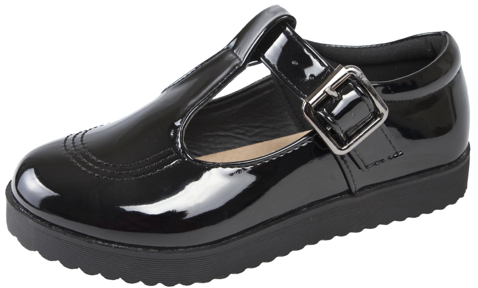 Girls Black School Shoes Chunky