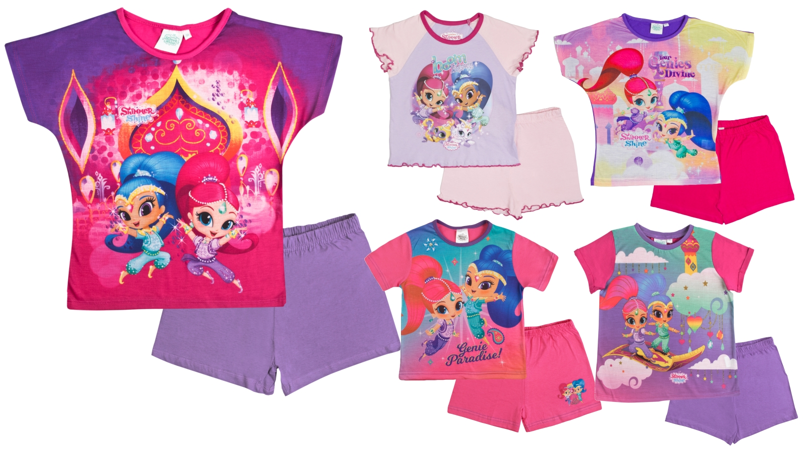 Girls Official Shimmer And Shine Light Pink Short Sleeve Summer Pyjamas PJs