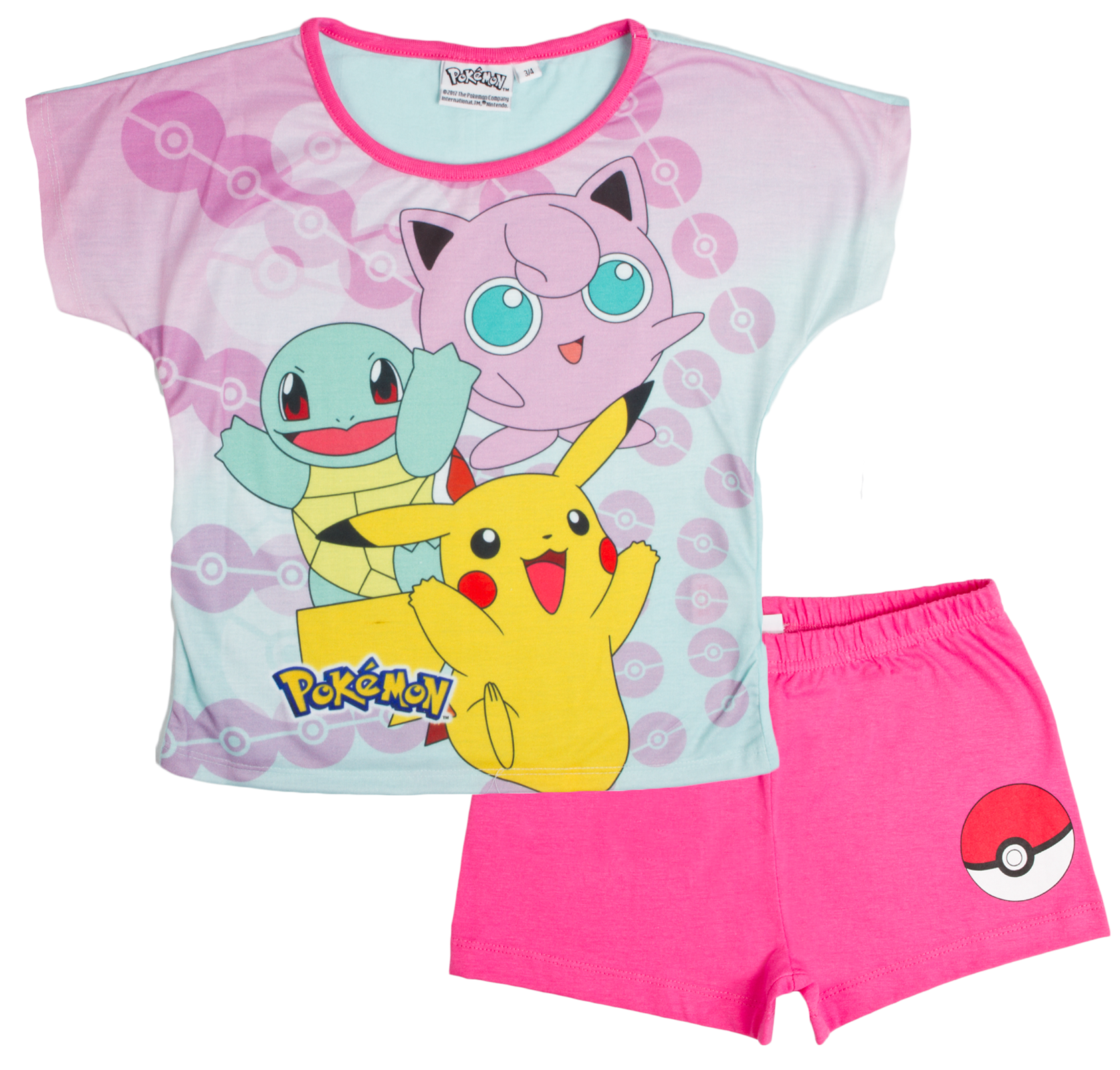 Boys Girls Pokemon Short Pyjamas Short Sleeve Shortie PJs Set