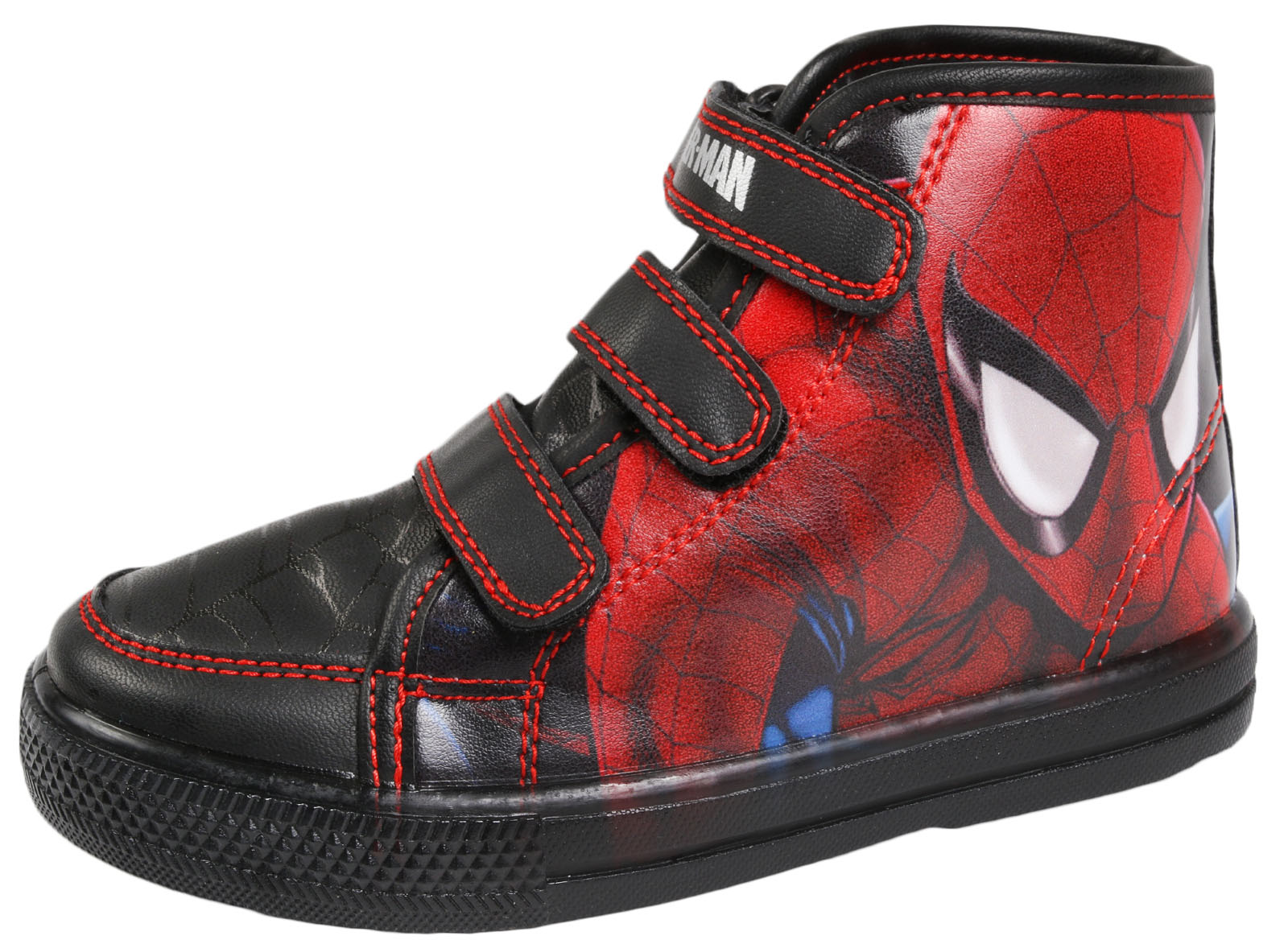 marvel spiderman light up sports trainers boys touch fastening