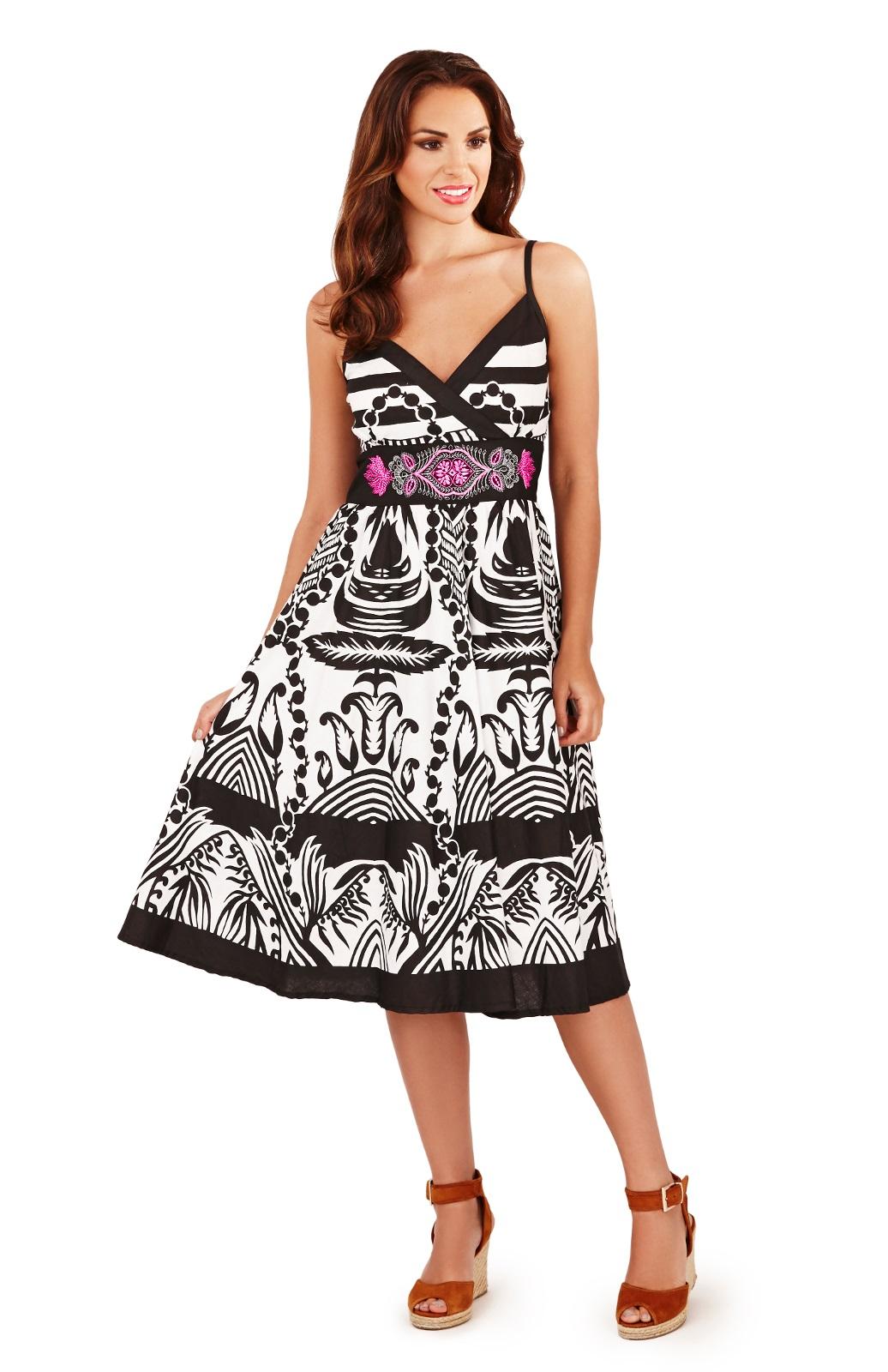 Womens Summer Dress Holiday Beach Sundress Strapless ...
