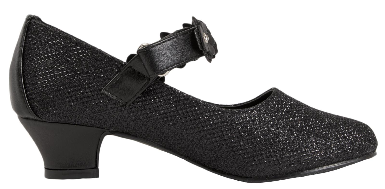 Diamante Glitter Wedding Party Shoes Bridesmaids Kids Girls Mary Jane Low Heels