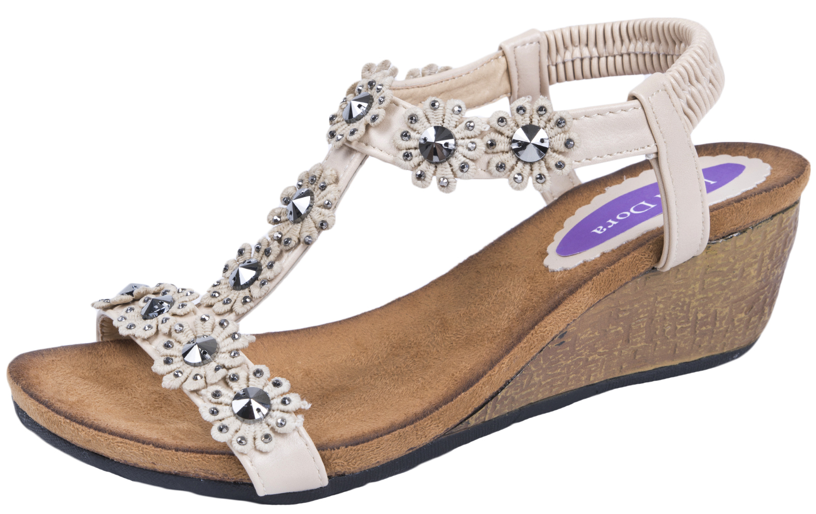 Sandalias de verano para mujer T Bar Baja Cuñas Tacones Cuña De Las Señoras Zapatos Cómodos Talla
