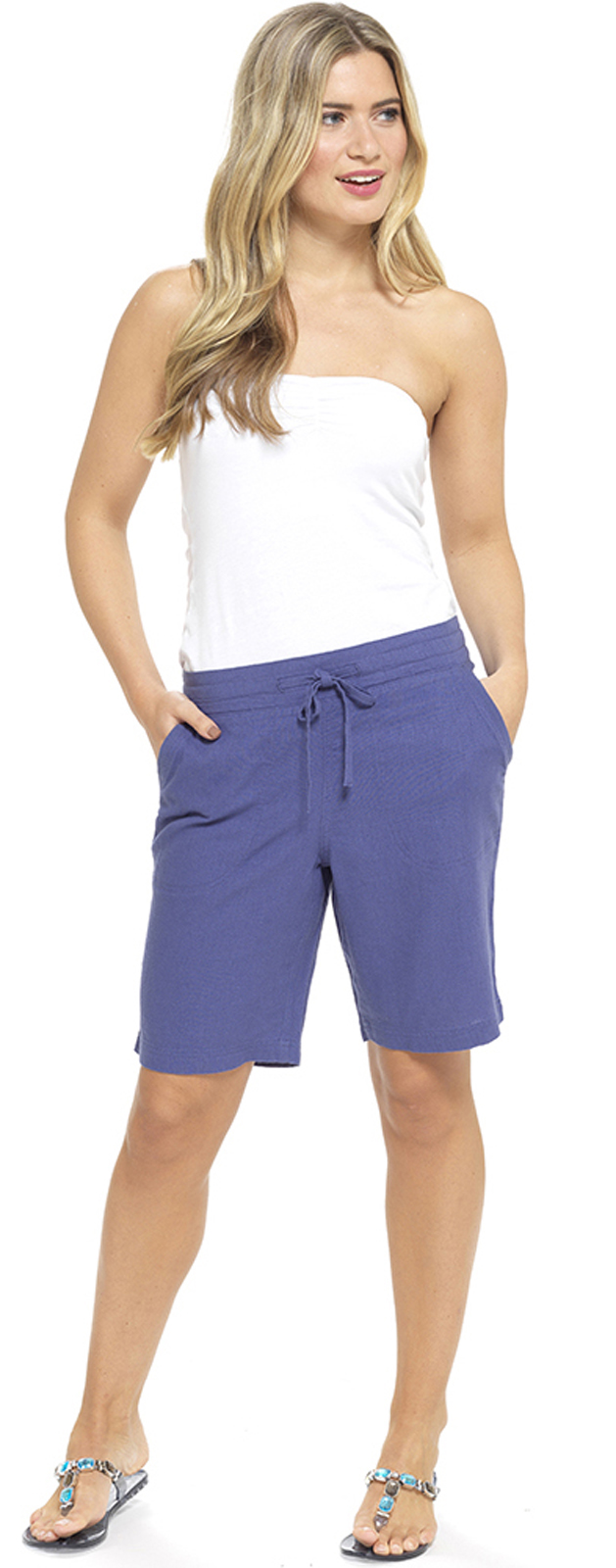 c06d6142cc Womens Linen Shorts With Elasticated Waist Holiday Beach Hot Pants ...