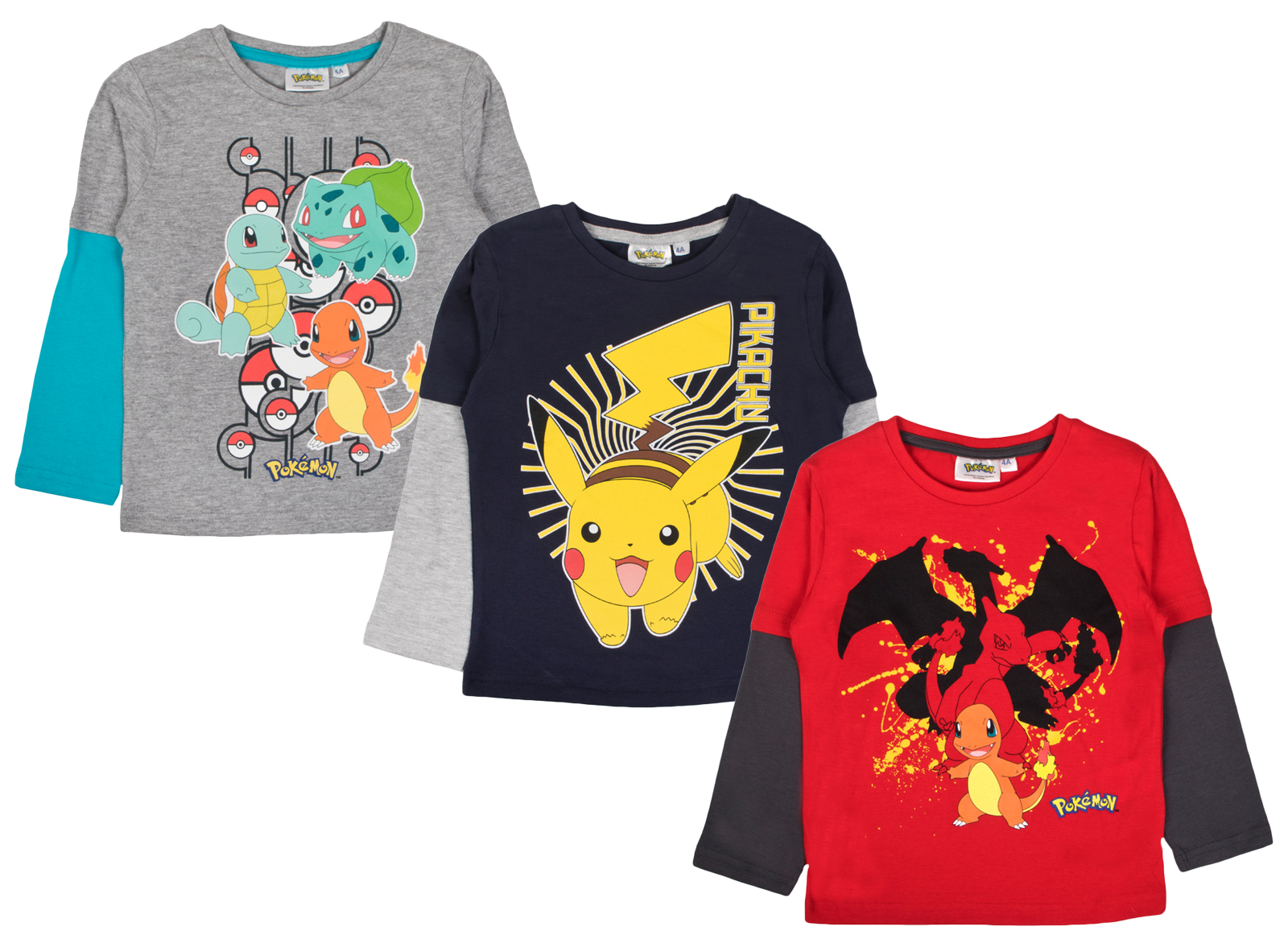 9f4d19b41f1 Boys Pokemon Long Sleeve Top 100% Cotton T Shirt Beach Summer Shirt Kids  Size