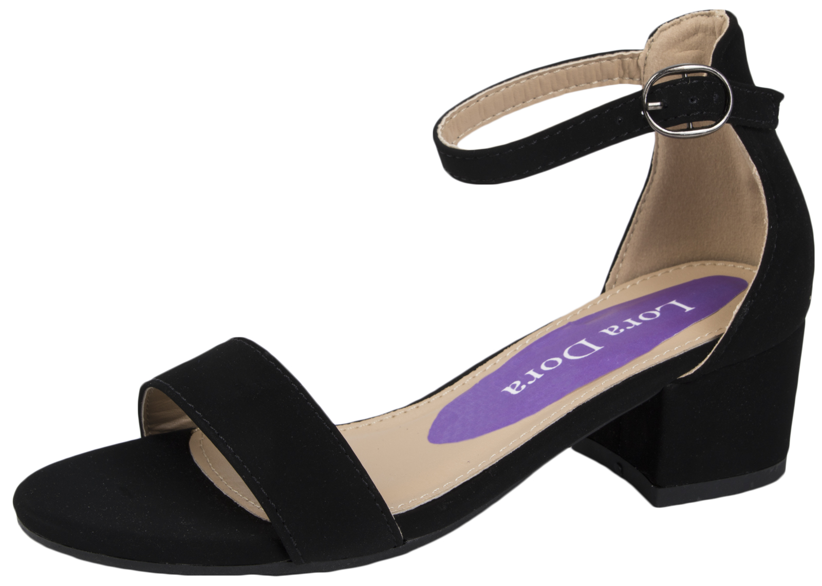 Kids Girls Low Block Heel Party Shoes Faux Suede ...