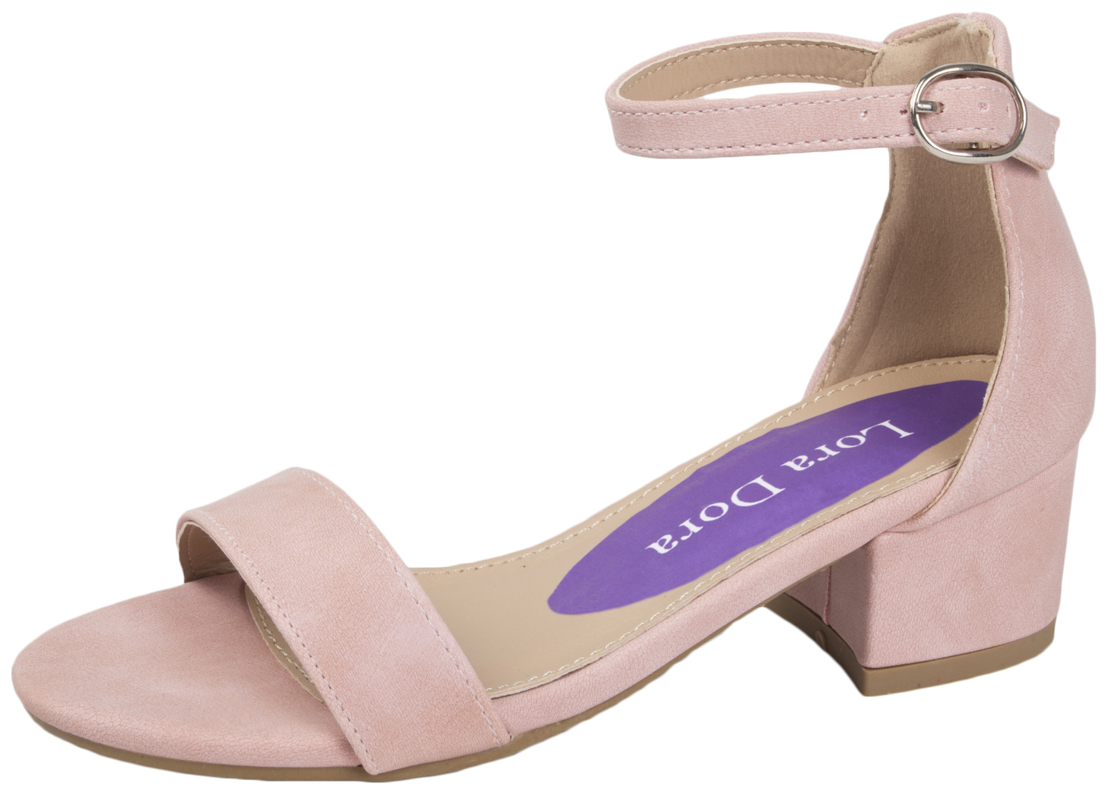 kids girls low block heel party shoes faux suede