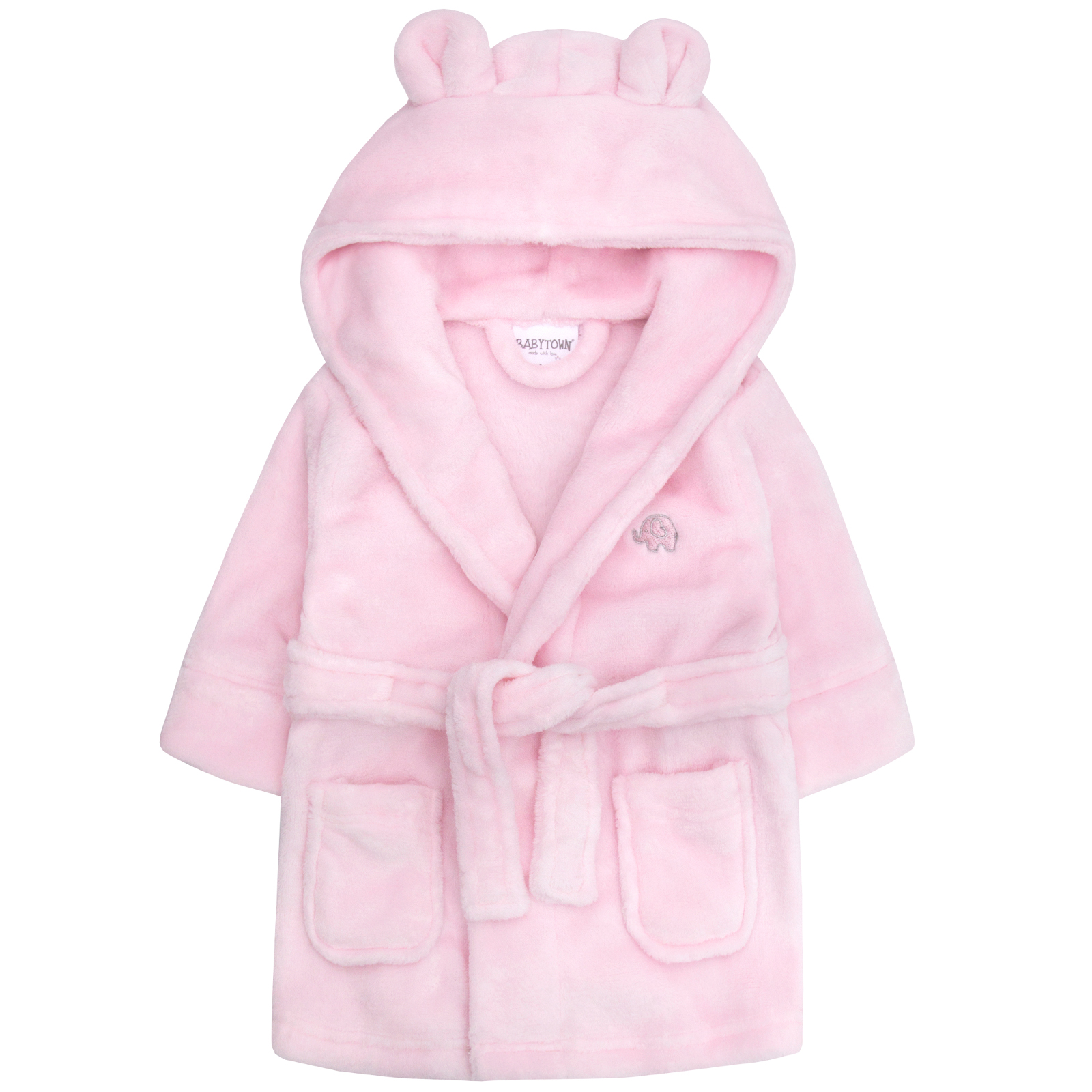a1c851a82 Baby Girls Hooded Fleece Dressing Gown Supersoft Bath Robe Towel ...