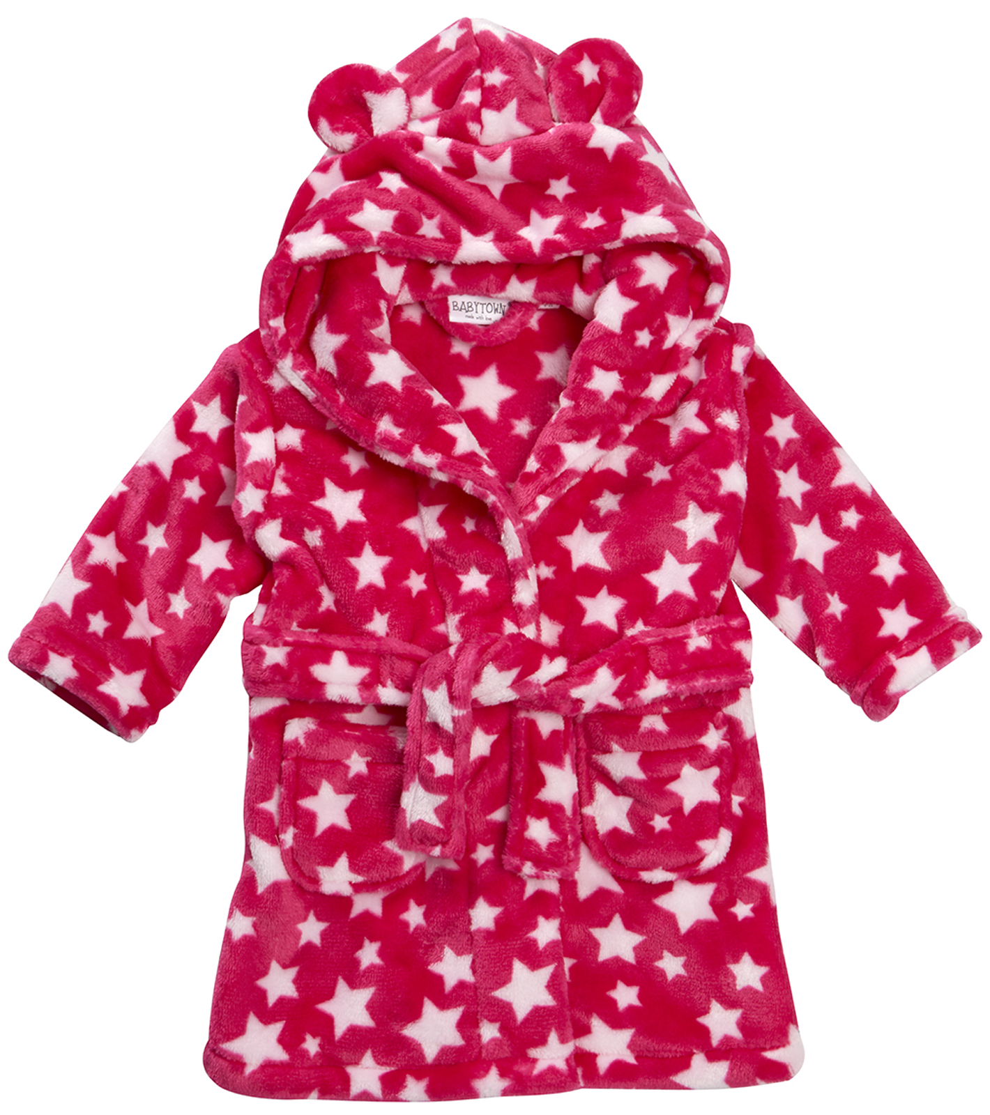 Baby Girls Hooded Fleece Dressing Gown Supersoft Bath Robe Towel ...