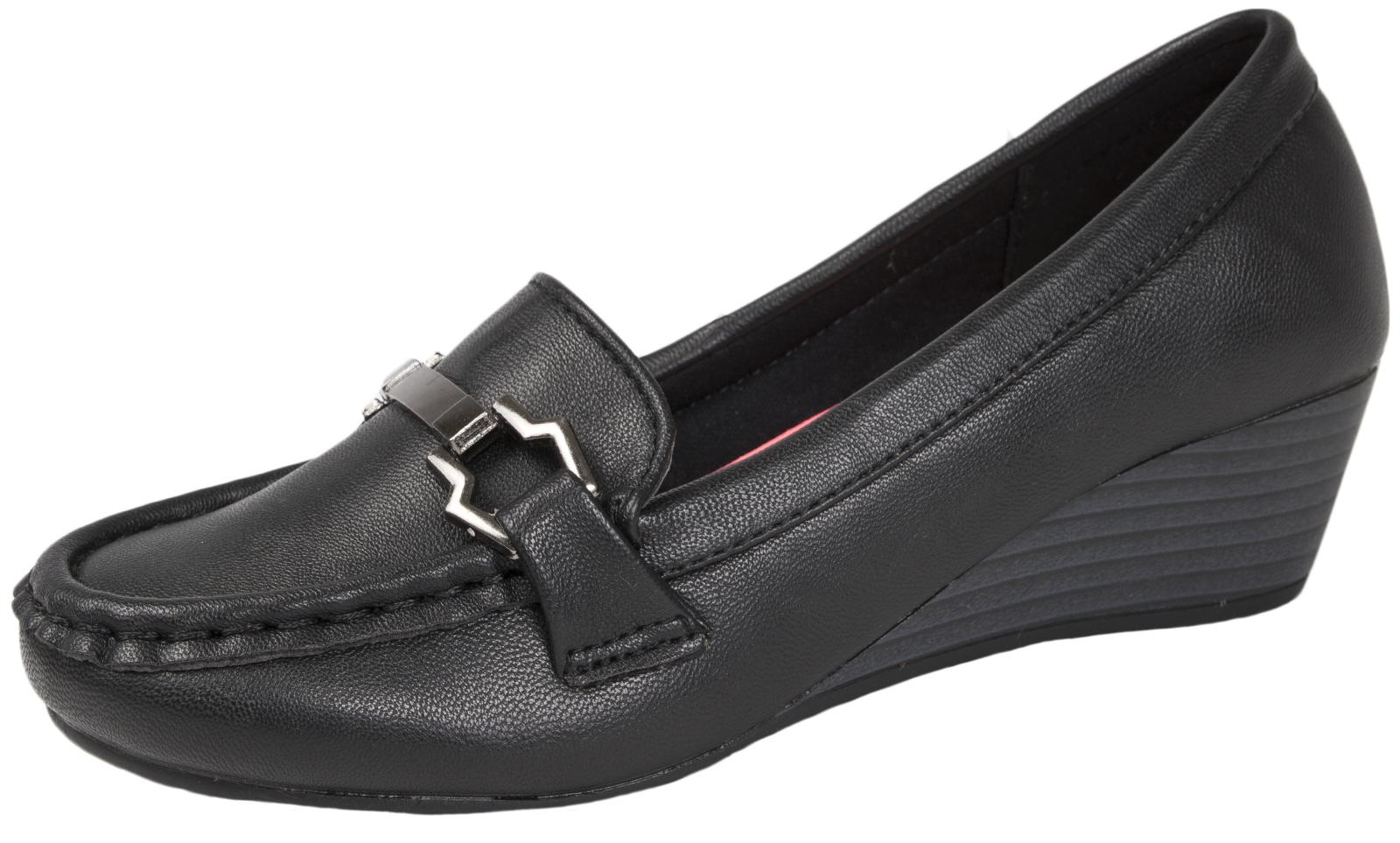 girls black slip on school shoes