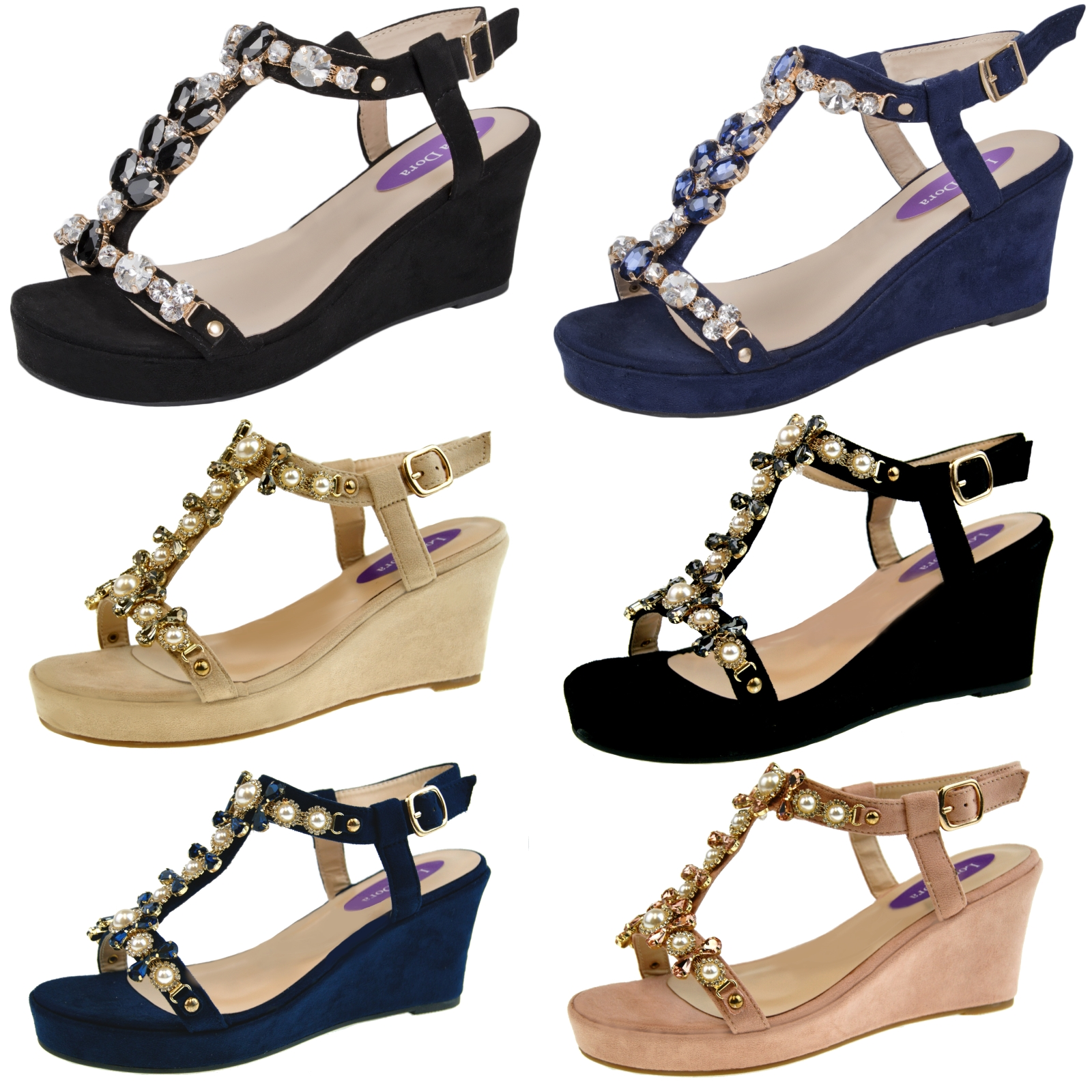 72e7fb6614ad Ladies Faux Suede Wedge High Heels Summer Jewel Wedges Womens Party Sandals  Size