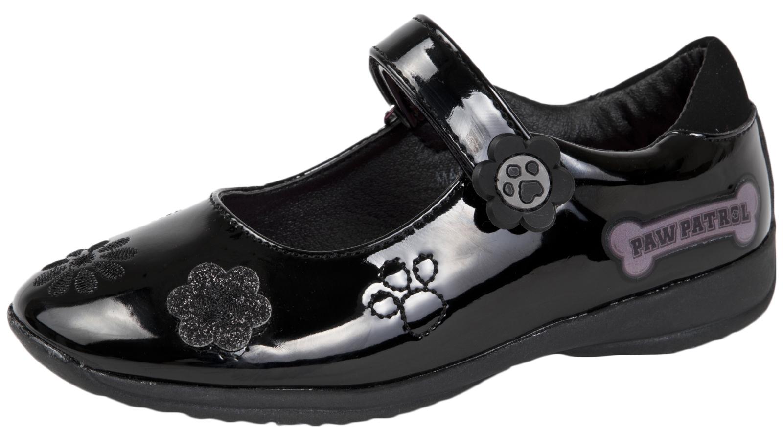 Girls Black Paw Patrol School Shoes