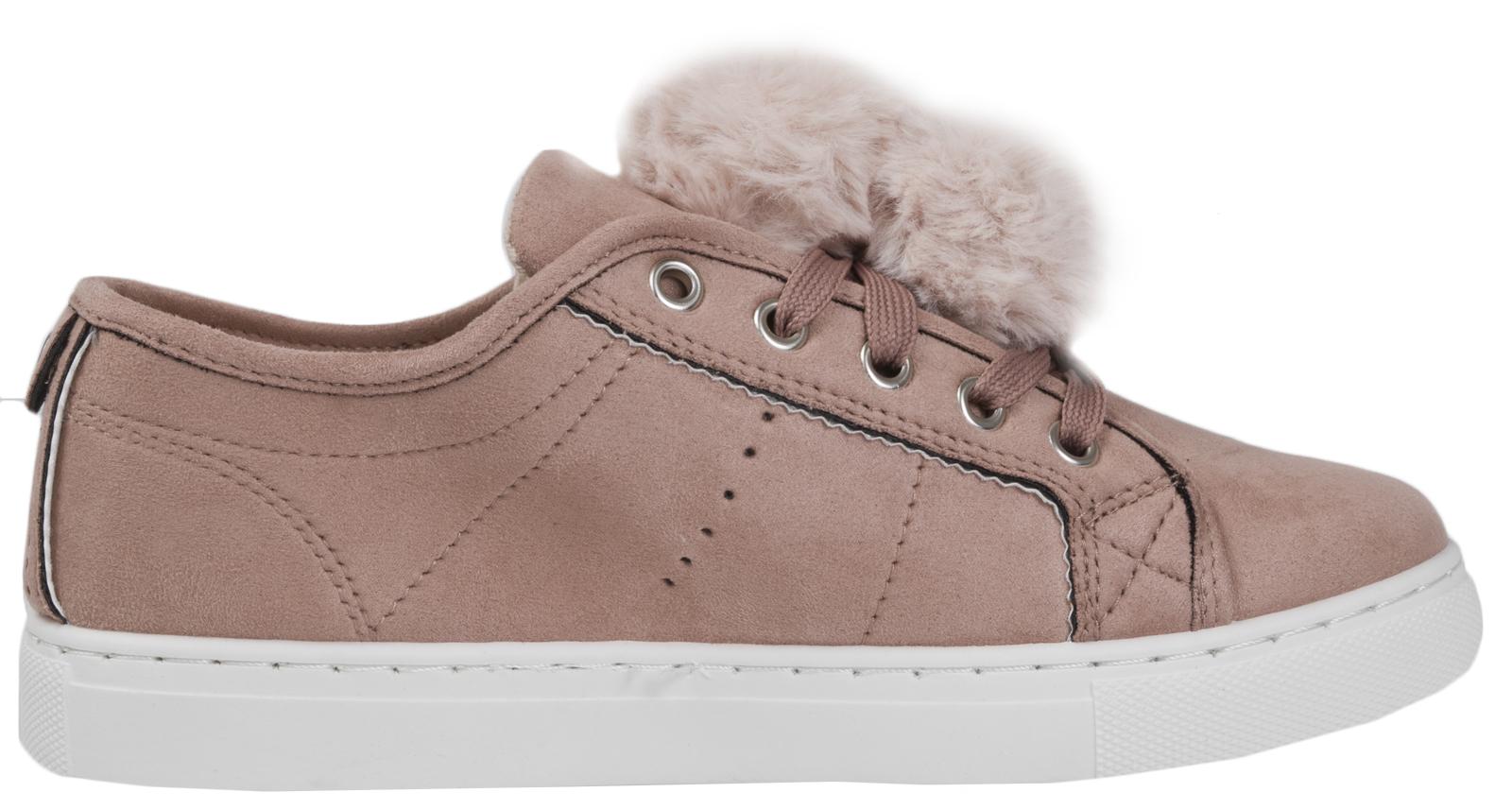 New Womens Ladies Rabbit Pom Pom Casual Shoes