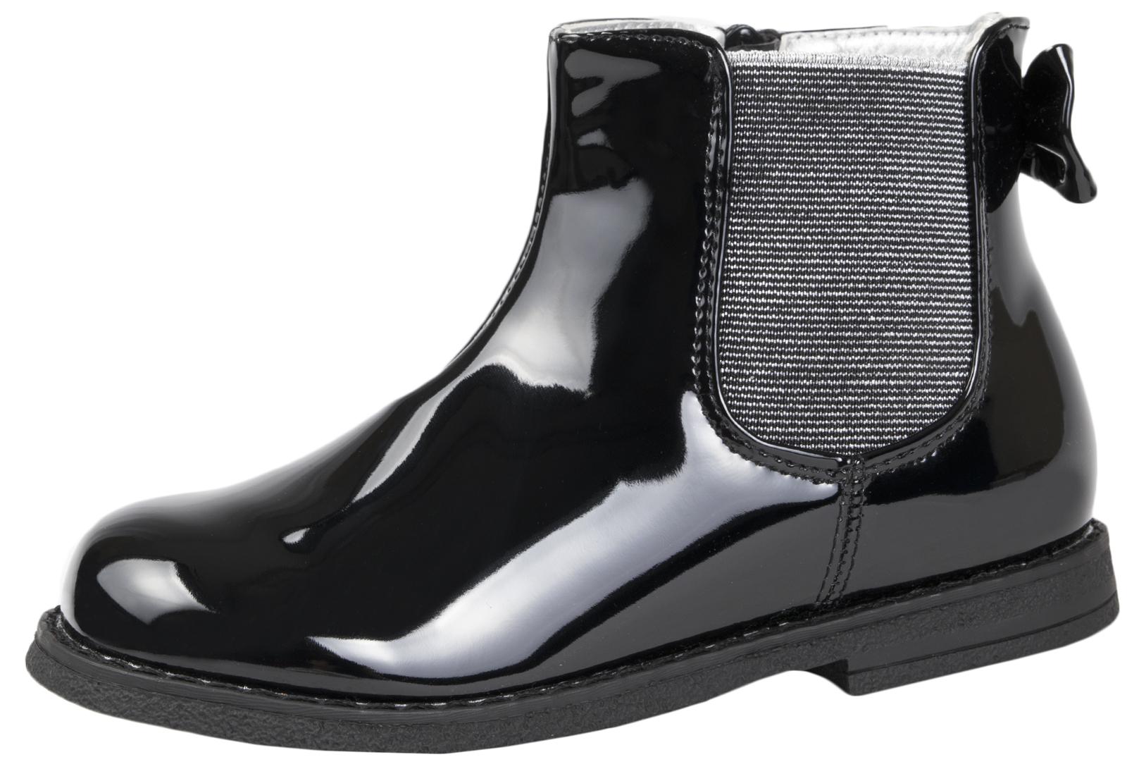 girls patent black boots