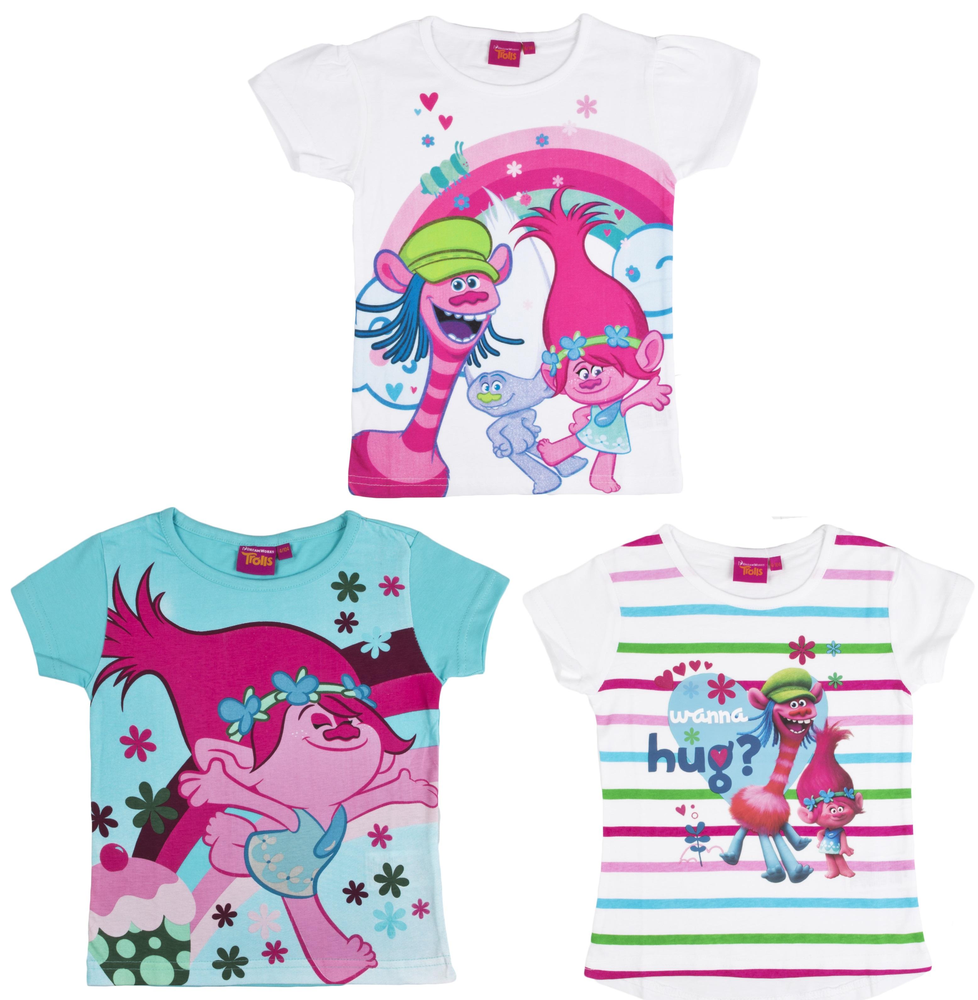 e46be2460 Girls Trolls Short Sleeved T Shirt Kids 100% Cotton Poppy Top Tee Kids  Character