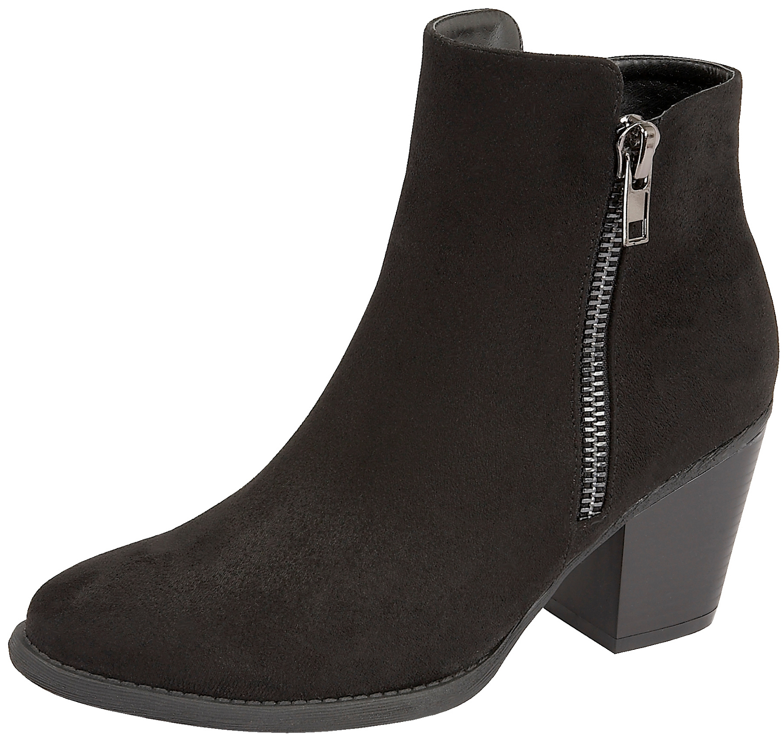 7ff1f0efc288 Womens Chunky Block Heel Chelsea Ankle Boots Faux Suede Leather ...